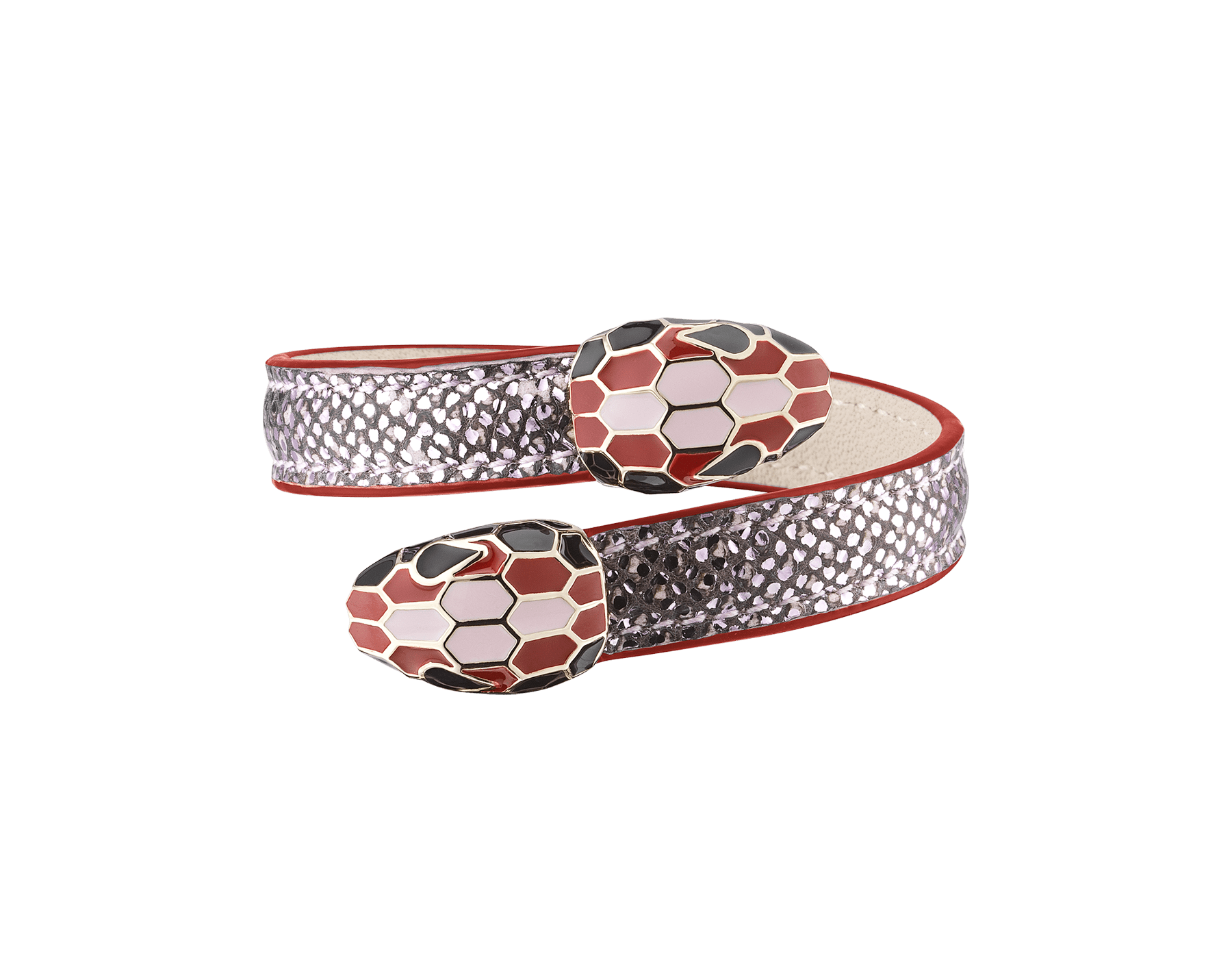 Serpenti Forever Celebration Edition soft bangle bracelet in rosa di Francia metallic karung skin, with light gold plated brass hardware. Contraire double snakehead décor with black, carmine jasper and rosa di Francia enamel, and black enamel eyes. 289546 image 1
