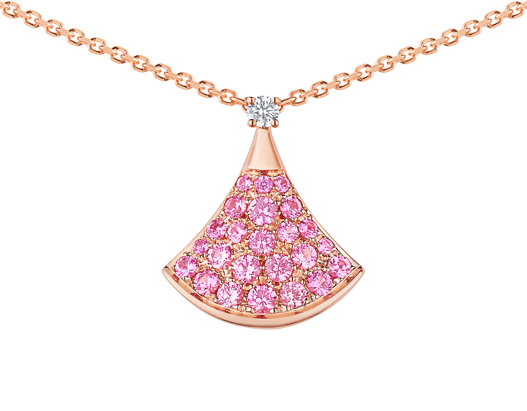 Collier DIVAS' DREAM en or rose 18 K avec pendentif en or rose 18 K serti d'un diamant (0,03 ct) et pavé saphirs roses (0,55 ct) 355889 image 2