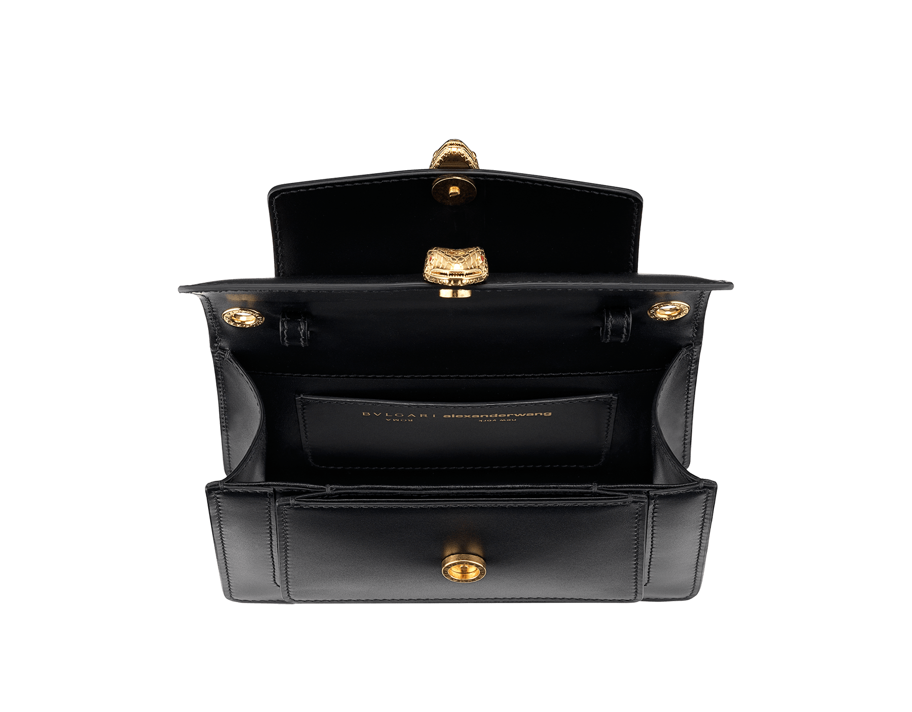 Alexander Wang x Bvlgari belt bag in smooth black calf leather. New double Serpenti head closure in antique gold plated brass with tempting red enamel eyes. Limited edition. 288737 image 7