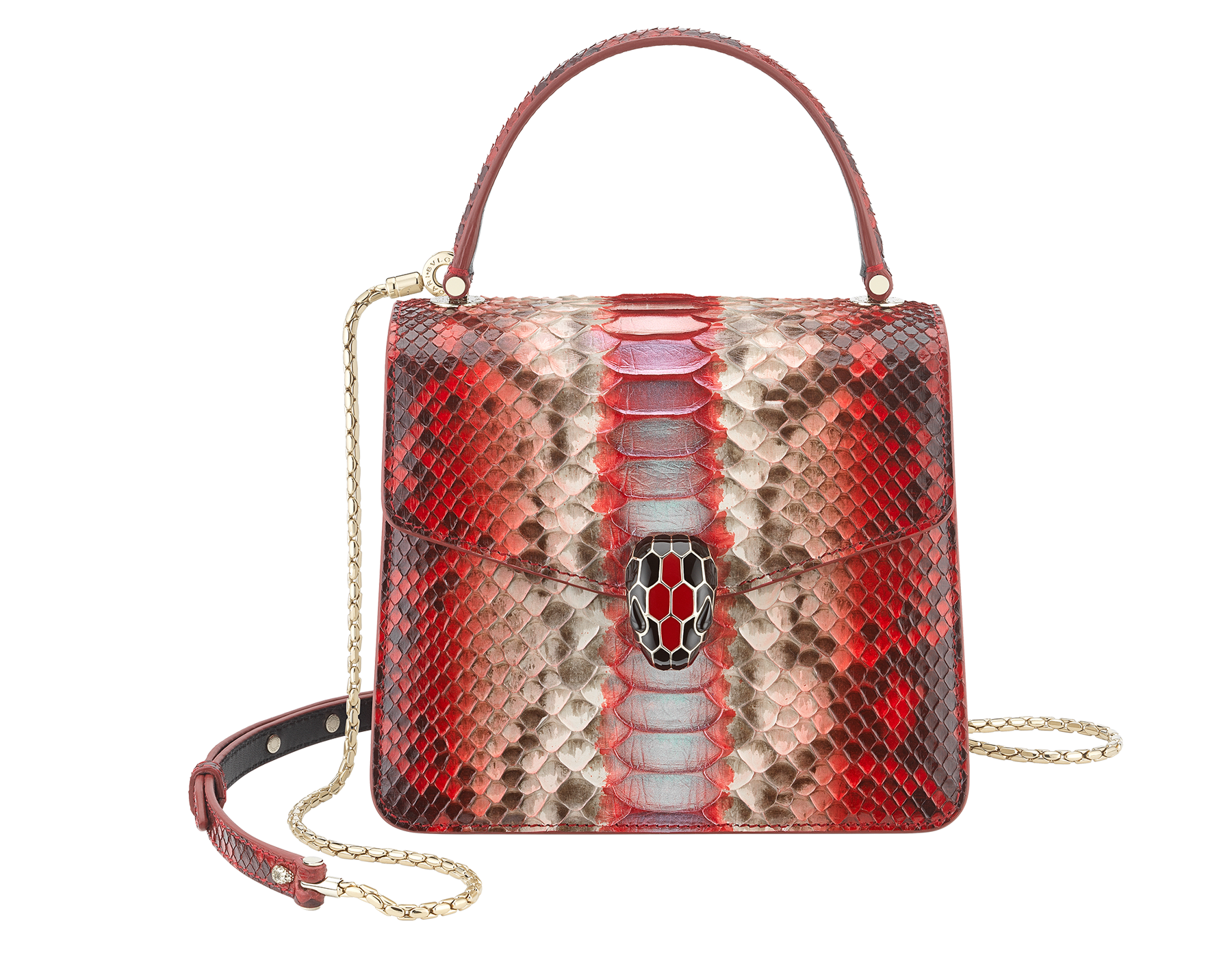 """Serpenti Forever "" crossbody bag in carmine jasper Eclectic"" python skin. Iconic snakehead closure in light gold plated brass enriched with black and carmine jasper enamel and black onyx eyes. 288874 image 1"