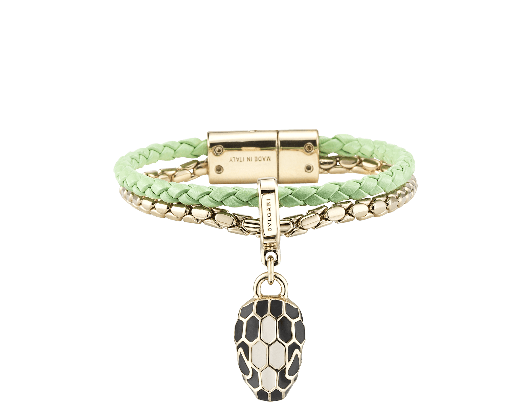 """Serpenti Forever"" bracelet in mint braided calf leather and light gold plated brass snake body-shaped chain with the iconic snakehead charm in black and white agate enamel and black enamel eyes with a magnetic clasp closure. SerpBraidChain-WCL-M image 1"