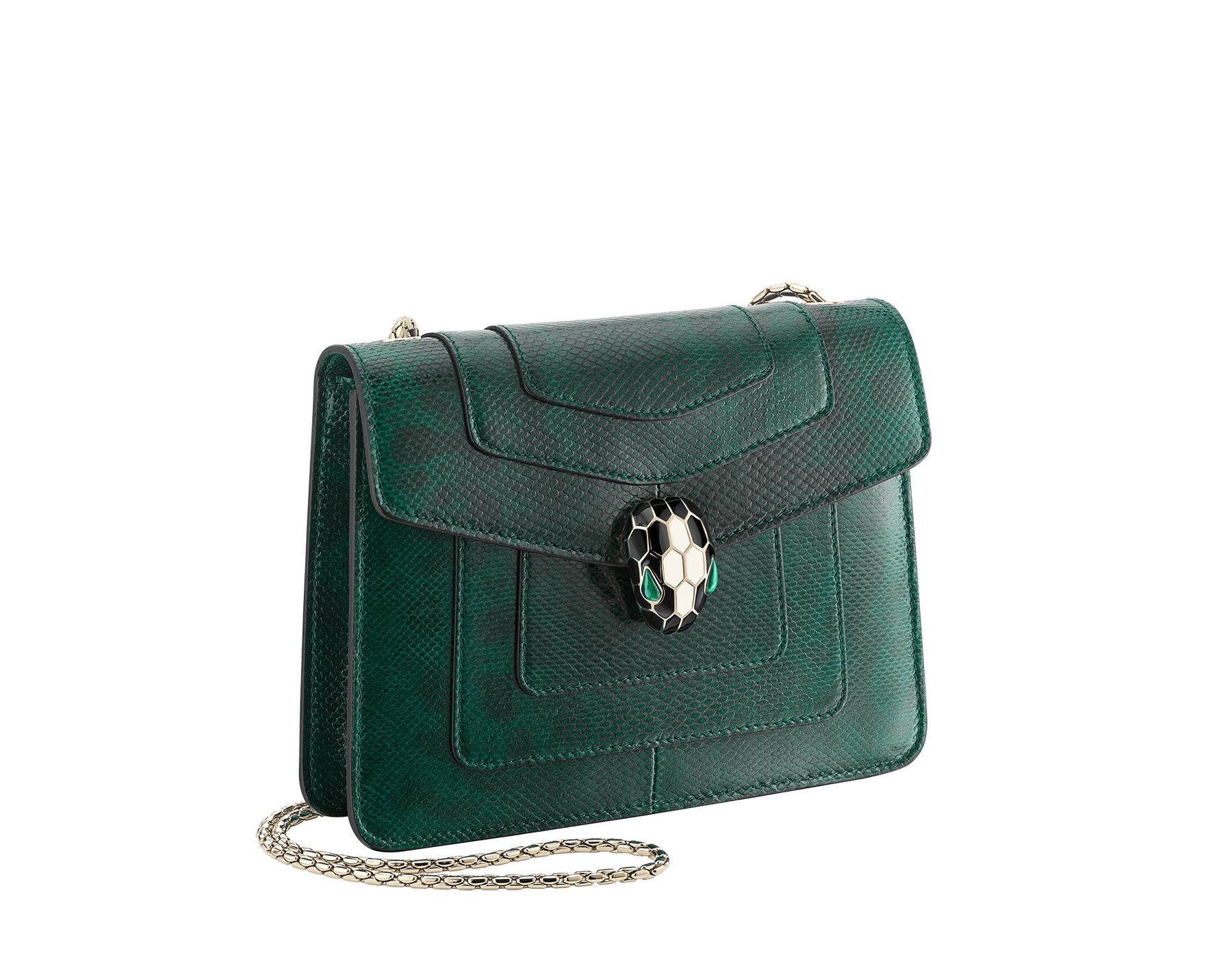 """""""Serpenti Forever"""" crossbody bag in shiny forest emerald karung skin. Iconic snakehead closure in light gold plated brass enriched with black and white enamel and green malachite eyes. 287357 image 2"""