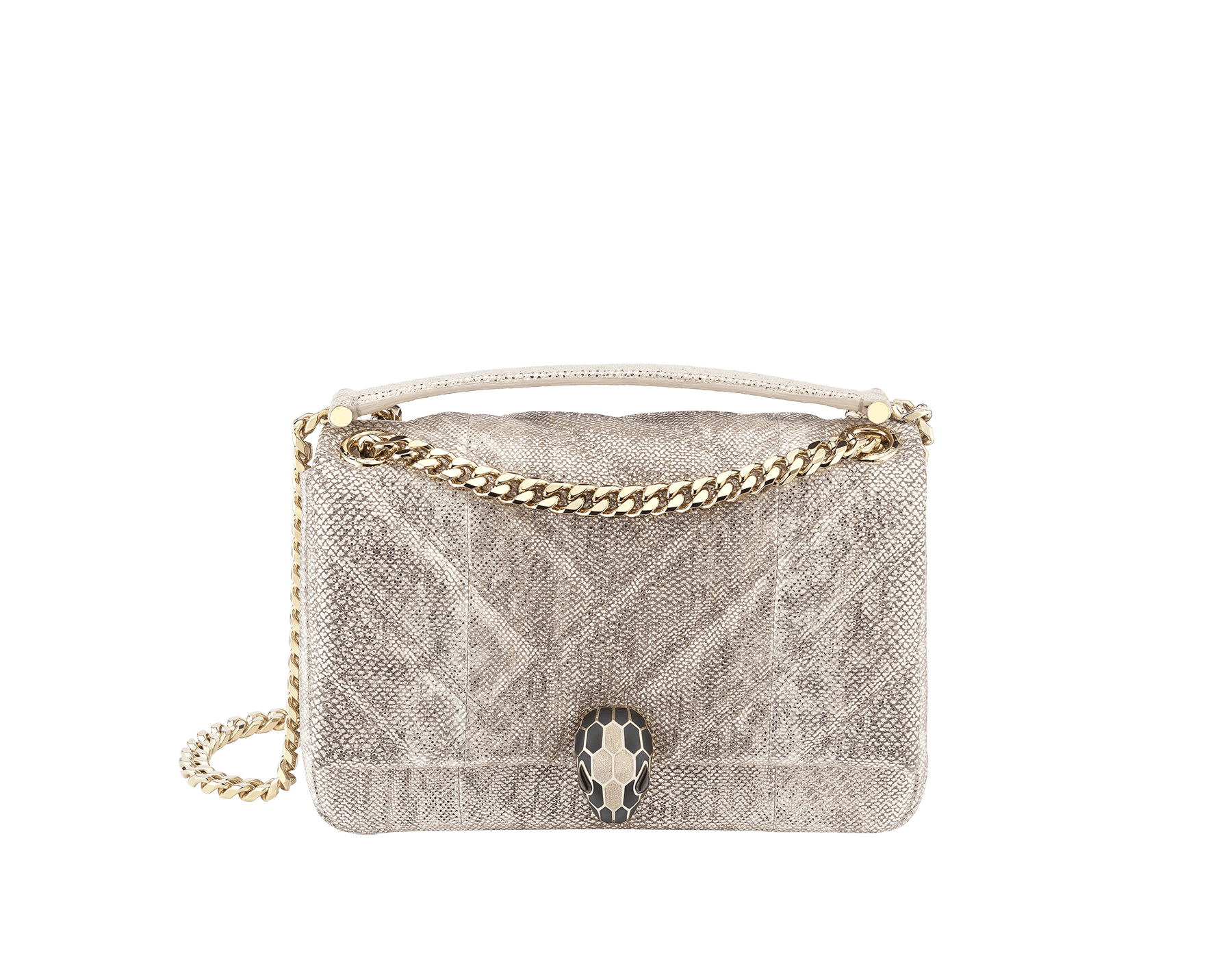 """Serpenti Cabochon"" shoulder bag in soft quilted Milky Opal beige metallic karung skin, with a graphic motif, and Milky Opal beige nappa leather internal lining. Light gold brass plated tempting snake head closure in matte black and glitter Milky Opal beige enamel, with black onyx eyes. 1094-MK image 1"