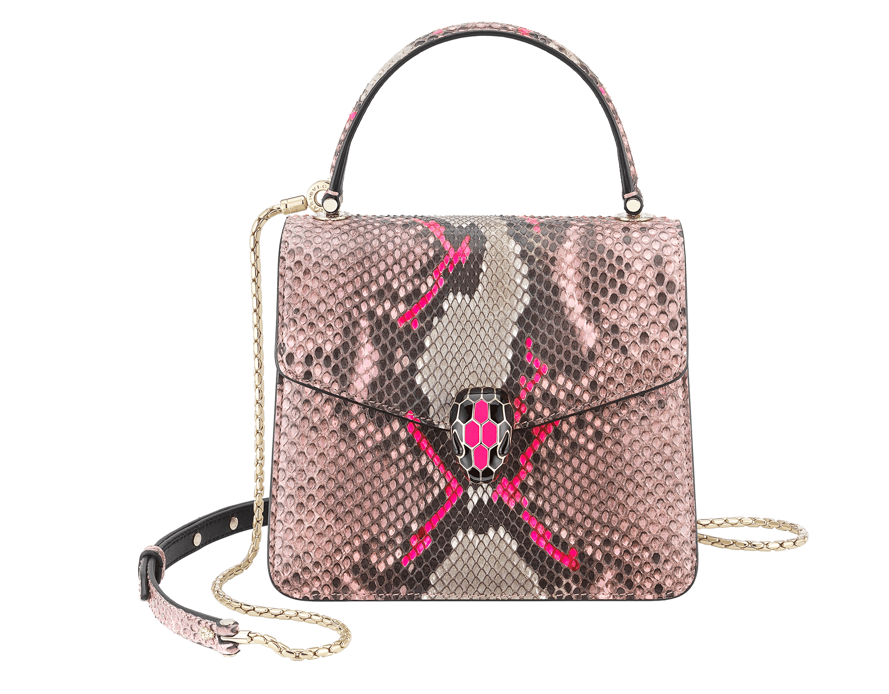 Serpenti Forever crossbody bag in black and white python skin with Whitethunder motif. Snakehead closure in shiny palladium plated brass decorated with black enamel, and black onyx eyes. 752-Pa image 1