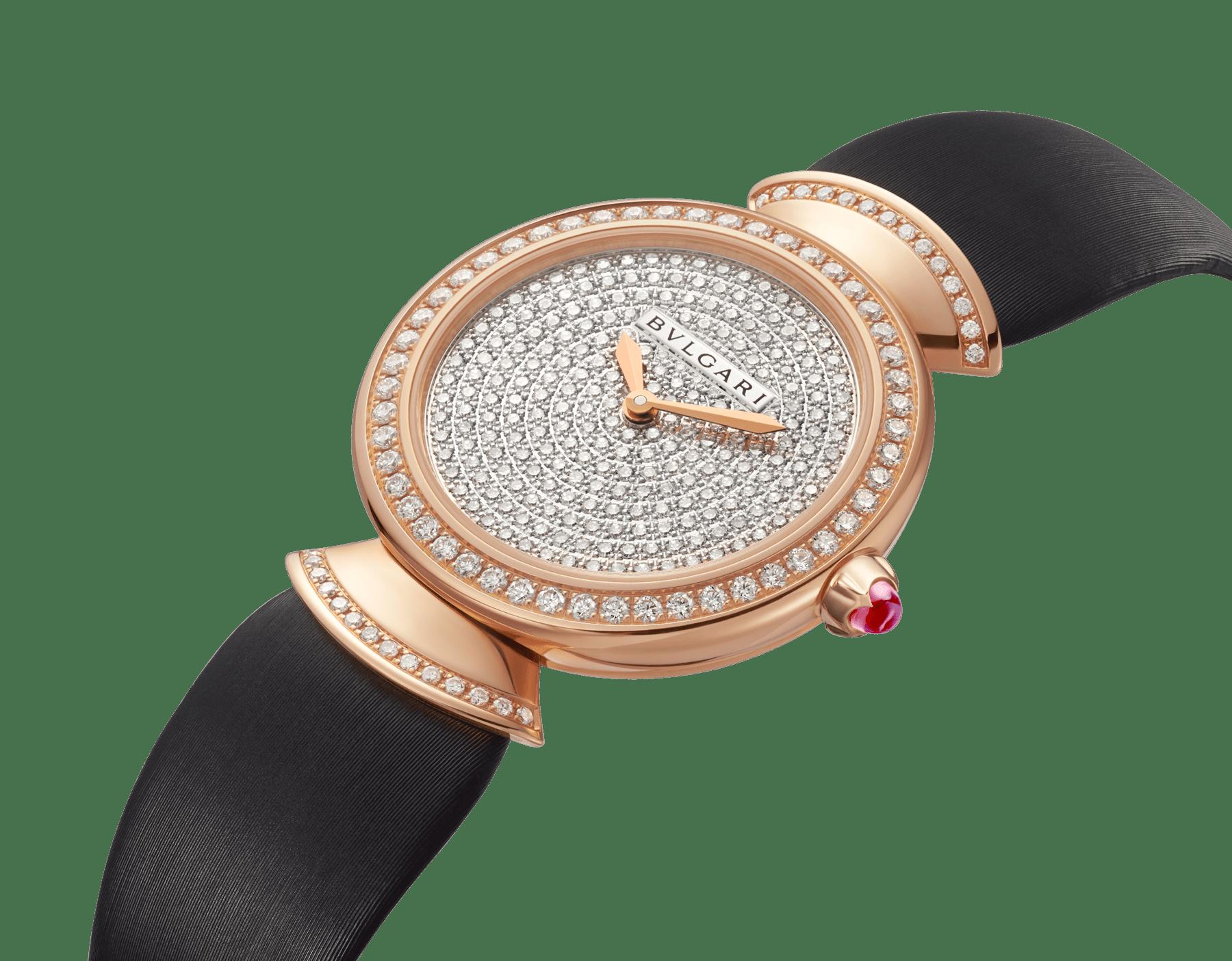 Montre DIVAS' DREAM avec boîtier en or rose 18K serti de diamants taille brillant, cadran pavé diamants et bracelet en satin noir 102432 image 2