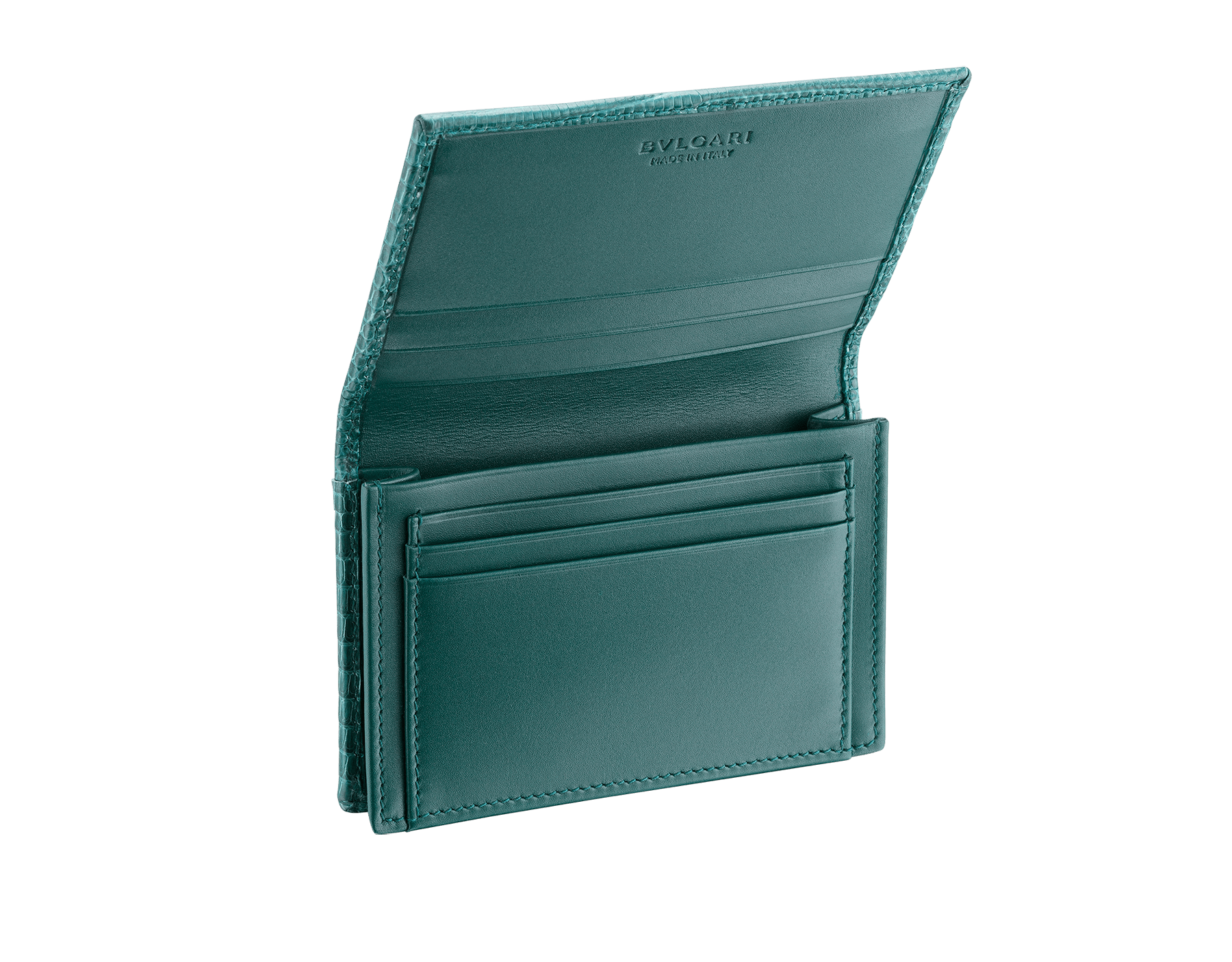 BVLGARI BVLGARI business card holder in forest emerald shiny lizard skin, with brass palladium plated logo décor. 289395 image 2