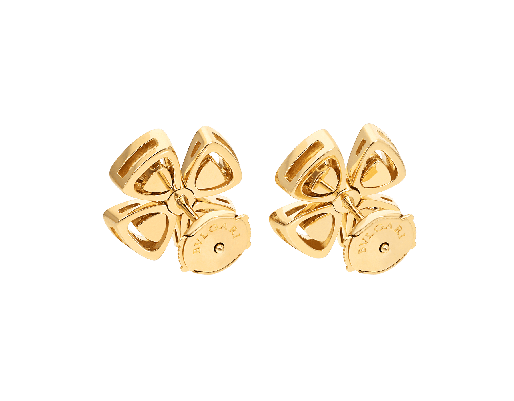 Fiorever 18 kt yellow gold stud earrings, set with two central diamonds and pavé diamonds. 357500 image 3