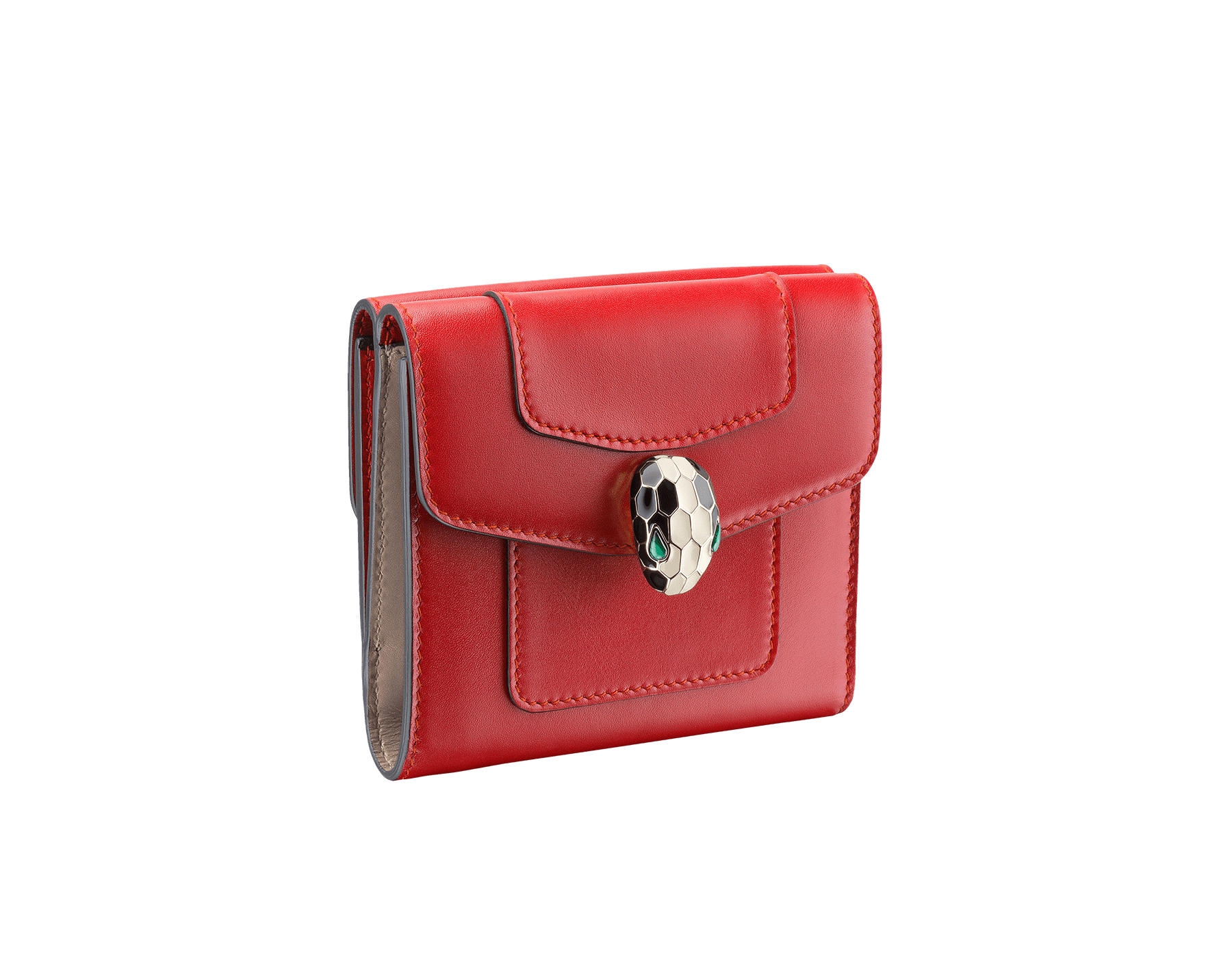 Square compact wallet in ruby red calf leather and desert quartz calf leather. Brass light gold plated hardware. Serpenti head stud closure in black and white enamel with eyes in green malachite. 281383 image 1