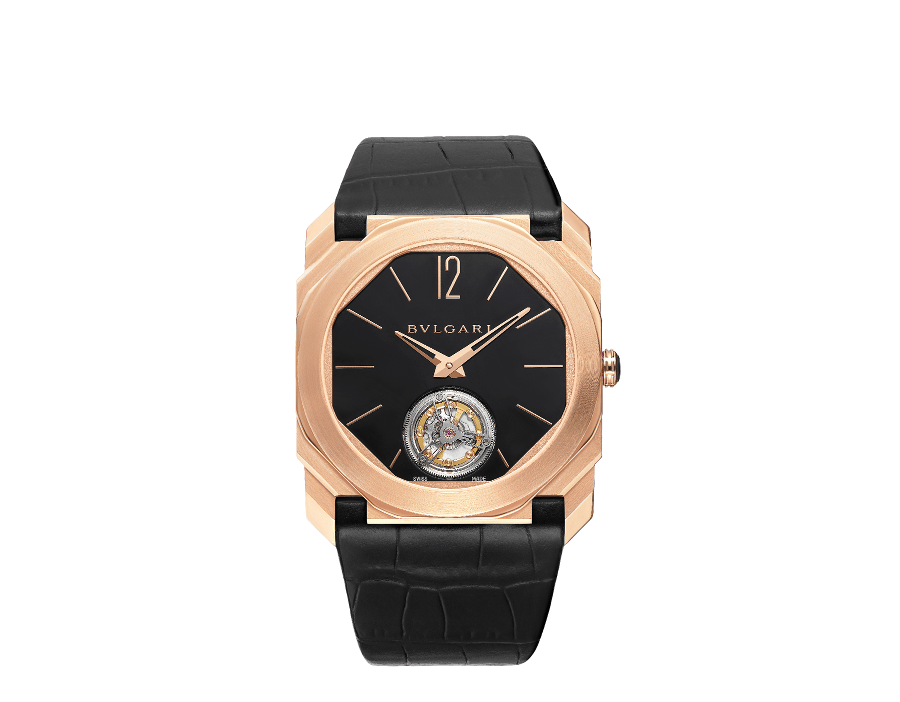 Octo Finissimo Tourbillon watch with extra thin mechanical manufacture movement, manual winding and ball-bearing system, 18 kt rose gold case, black lacquered dial with tourbillon see-through opening and black alligator bracelet. 102346 image 1