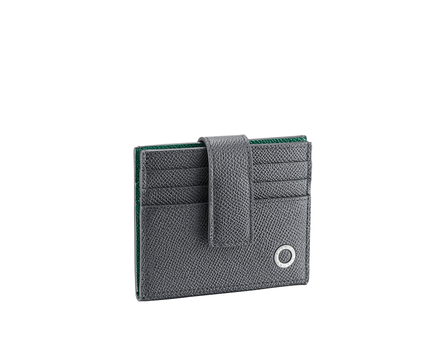BVLGARI BVLGARI folded credit card holder in black grain calf leather. Iconic logo decoration in palladium-plated brass. BBM-12CCHOLDER image 1