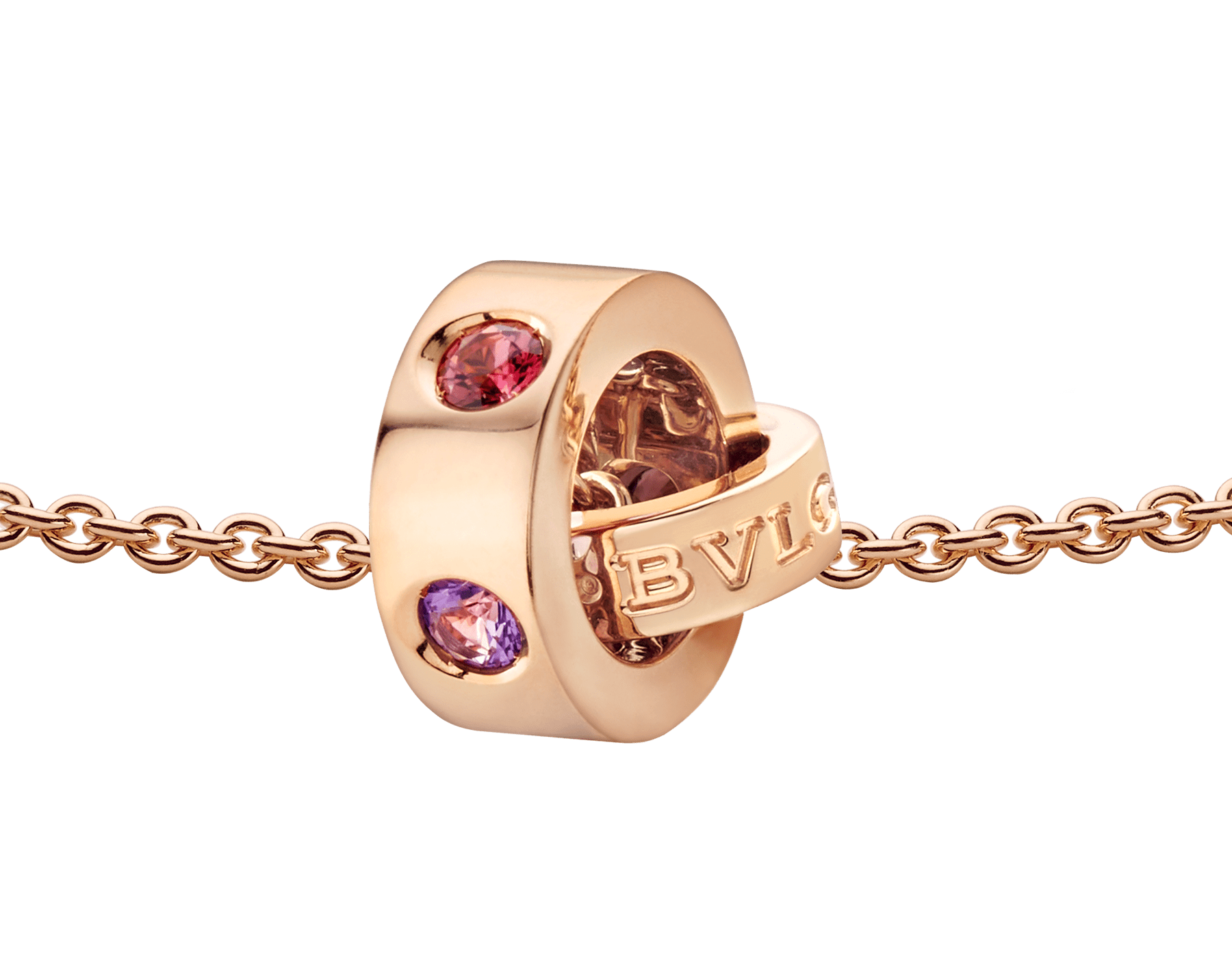 BVLGARI BVLGARI necklace with 18 kt rose gold chain and 18 kt rose gold pendant set with amethysts and pink tourmalines 352618 image 3