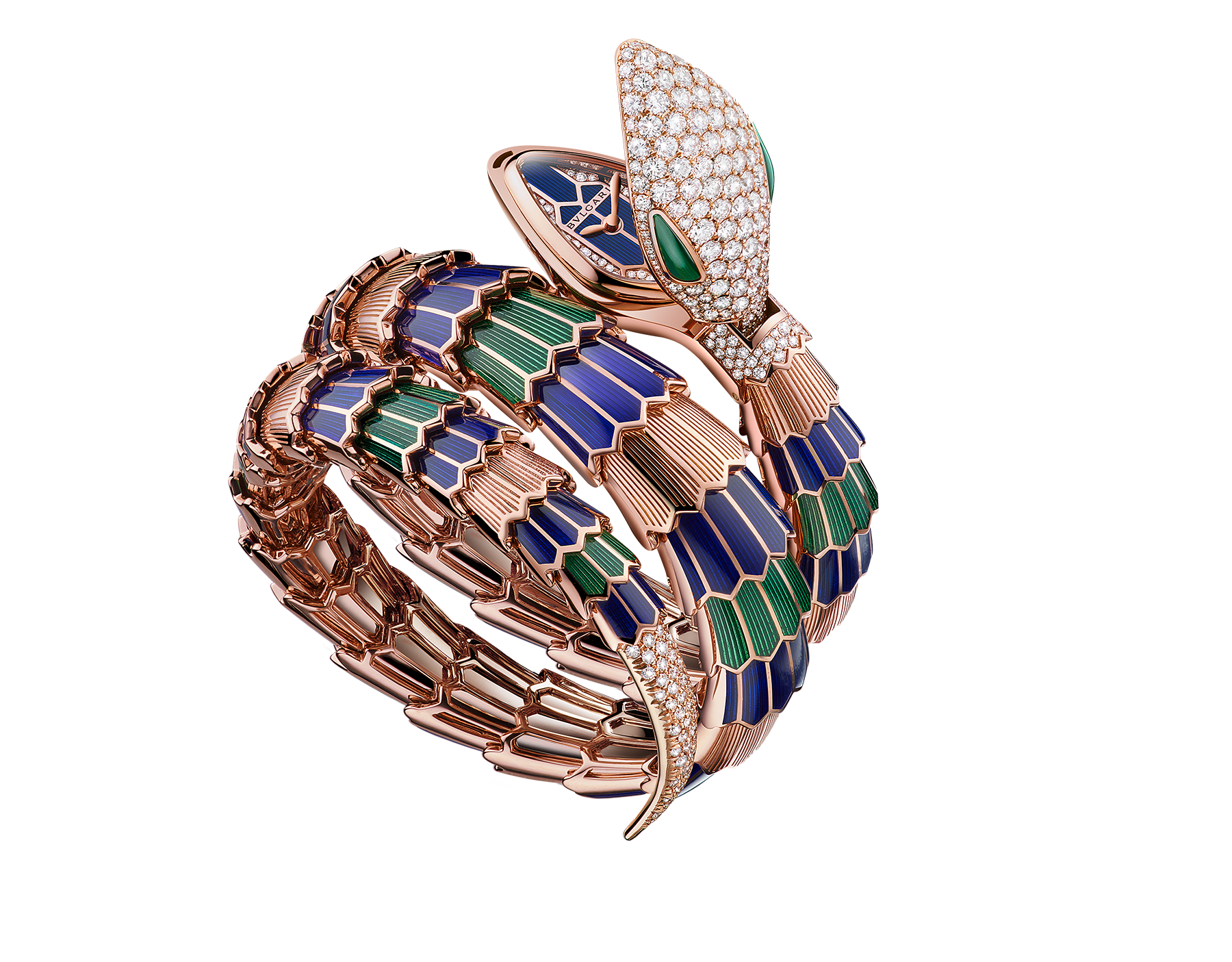 Serpenti Secret Watch with 18 kt rose gold head set with pavé diamonds and malachite eyes, 18 kt rose gold case, 18 kt rose gold dial set with brilliant cut diamonds, 18 kt rose gold double spiral bracelet coated with blue and green lacquer and set with pavé diamonds. 102446 image 1