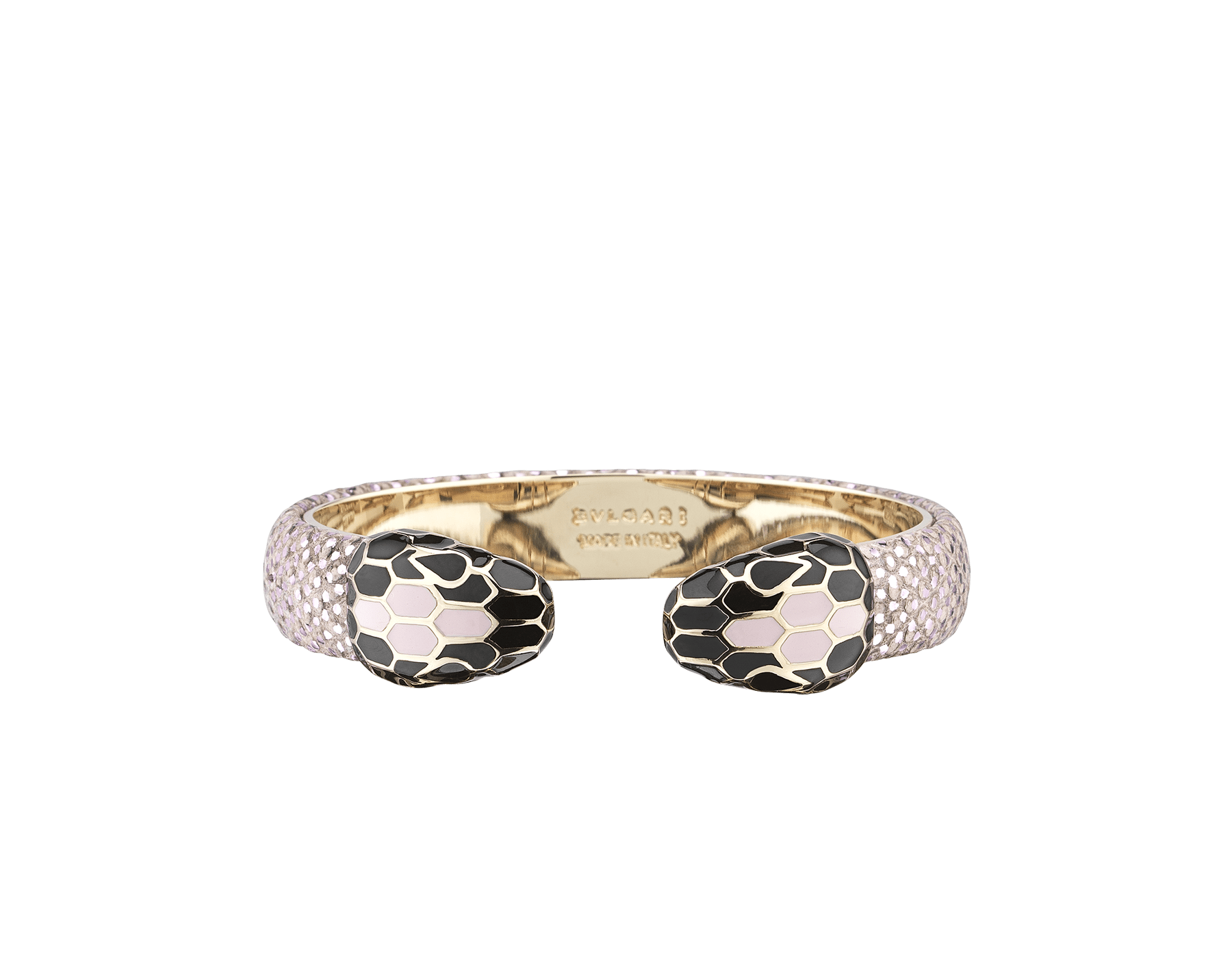 Serpenti Forever bangle bracelet in rosa di francia metallic karung skin, with brass light gold plated hardware. Iconic contrasting snakehead décor in black and rosa di francia enamel, with black enamel eyes. SPContr-MK-RdF image 1