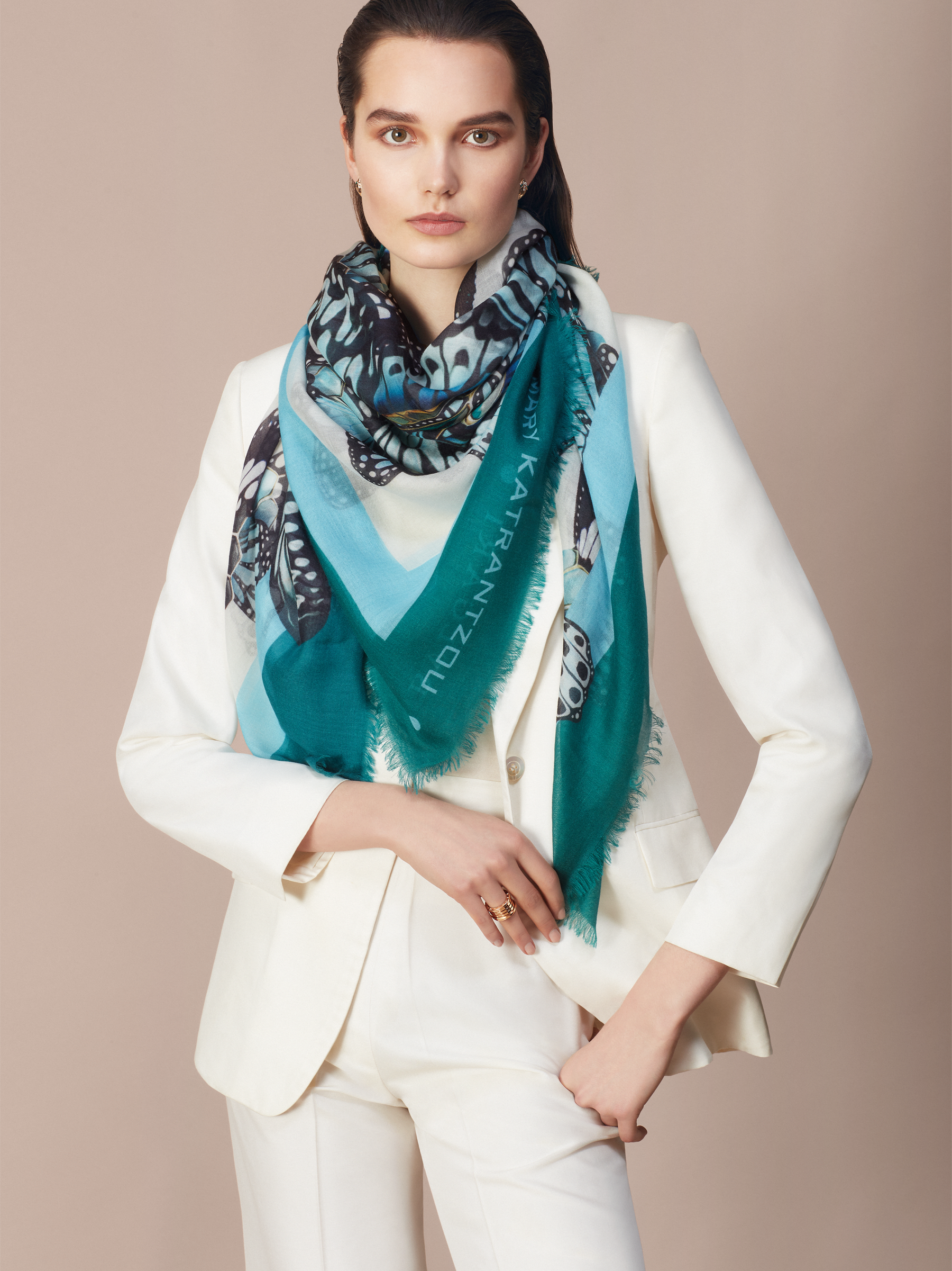 "Emerald green ""Mary Katrantzou x Bvlgari"" scarf in fine, printed light cashmere. Special Edition. MK-140Scarf image 2"