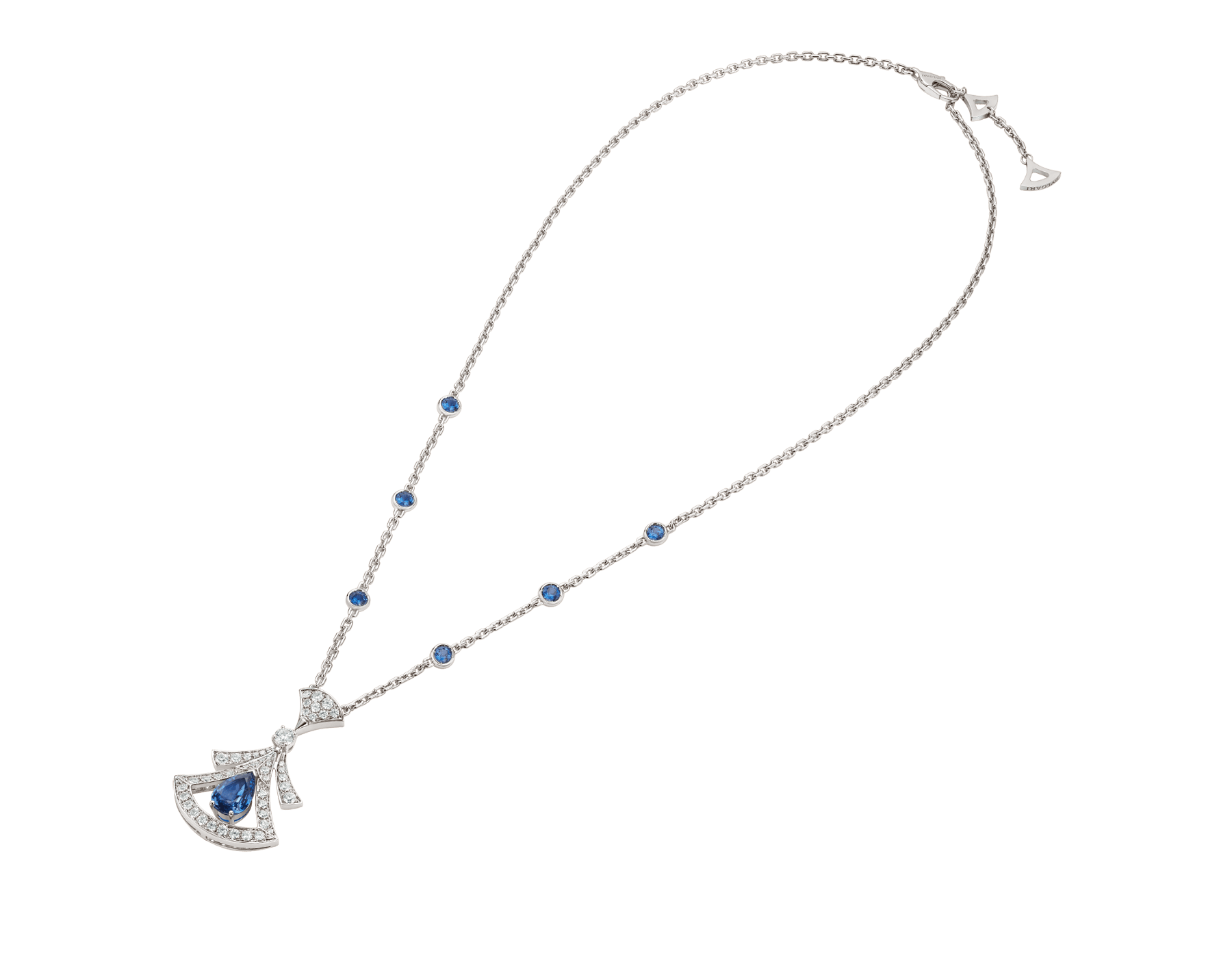 DIVAS' DREAM 18 kt white gold openwork necklace set with a pear-shaped sapphire, round brilliant-cut sapphires, a round brilliant-cut diamond and pavé diamonds. 357325 image 3