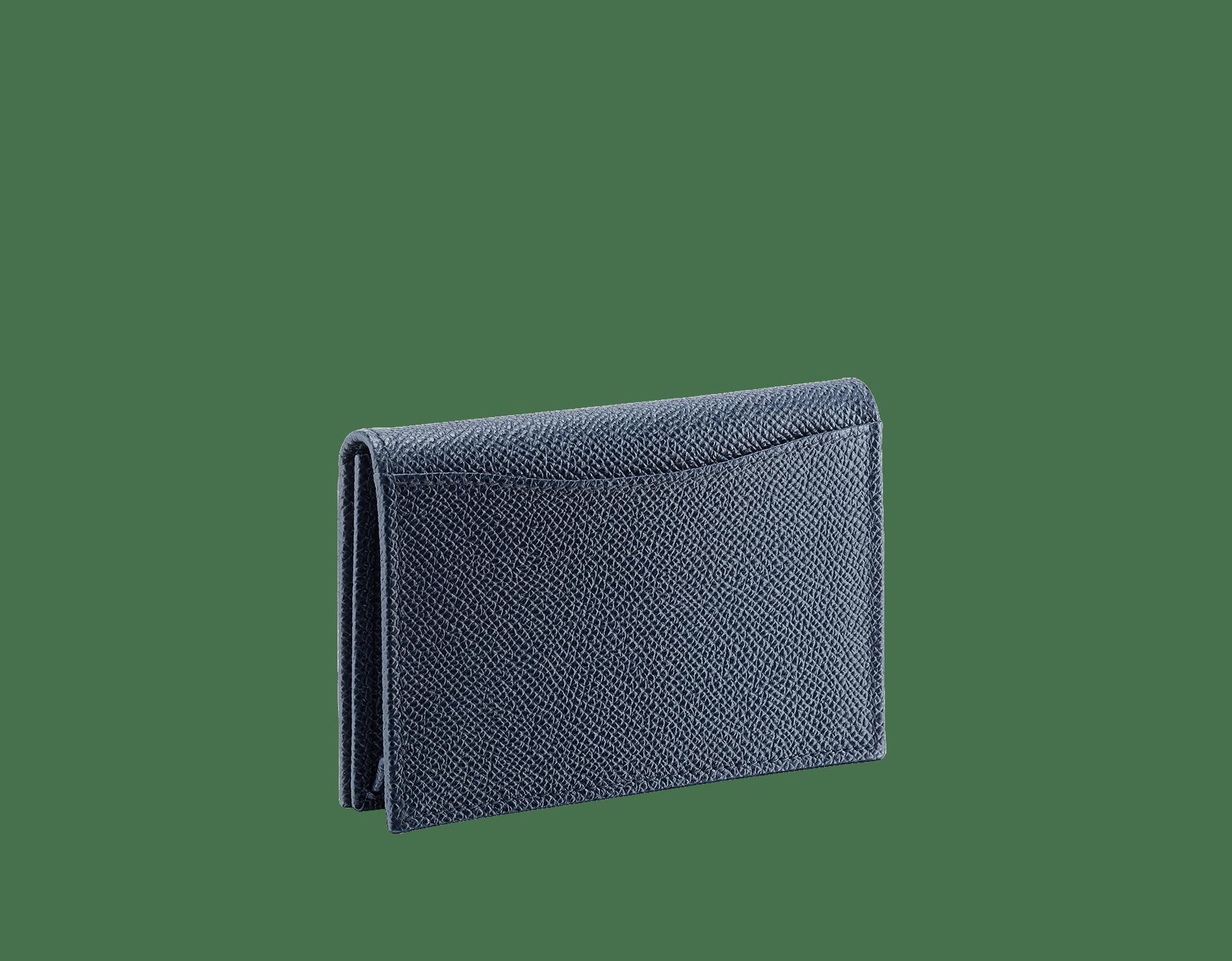 BVLGARI BVLGARI business card holder in denim sapphire and charcoal diamond grain calf leather, with brass palladium plated logo decoration. 289116 image 3