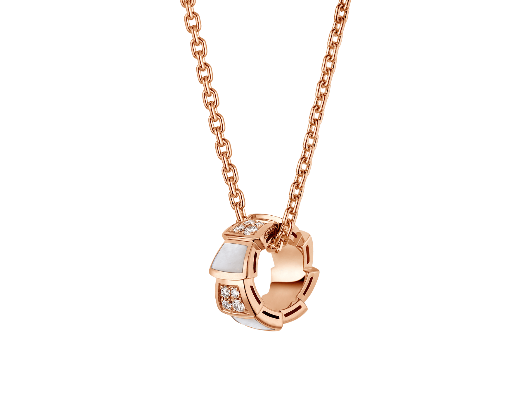 Serpenti Viper 18 kt rose gold necklace set with mother-of-pearl elements and pavé diamonds on the pendant. 357095 image 1