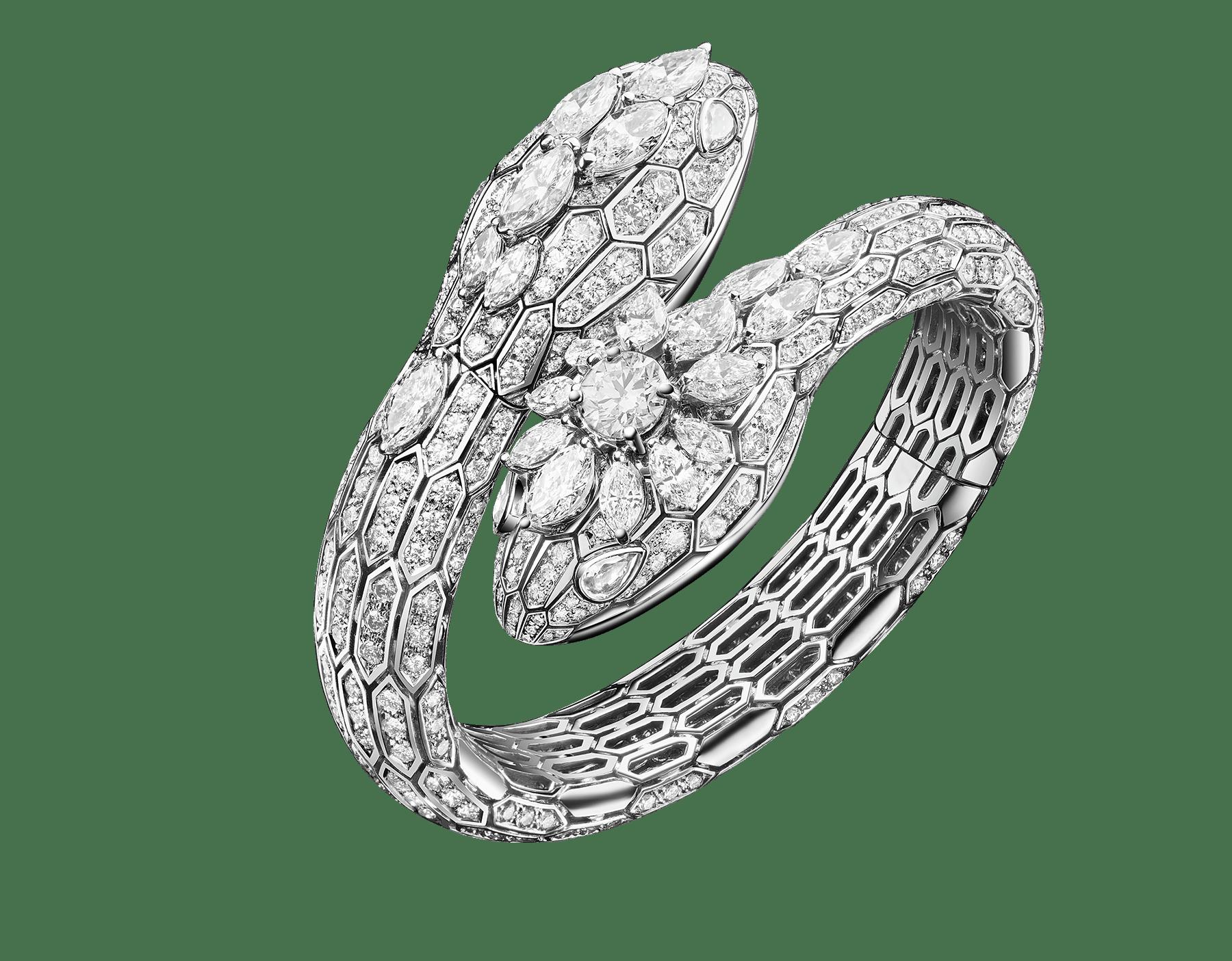 Montre à deux têtes Serpenti avec têtes en or blanc 18K serties de diamants taille brillant, diamants taille marquise et un diamant rond, boîtier en or blanc 18K, cadran en or blanc 18K serti de diamants taille brillant, bracelet en or blanc 18K serti de diamants taille brillant et marquise. 102783 image 1