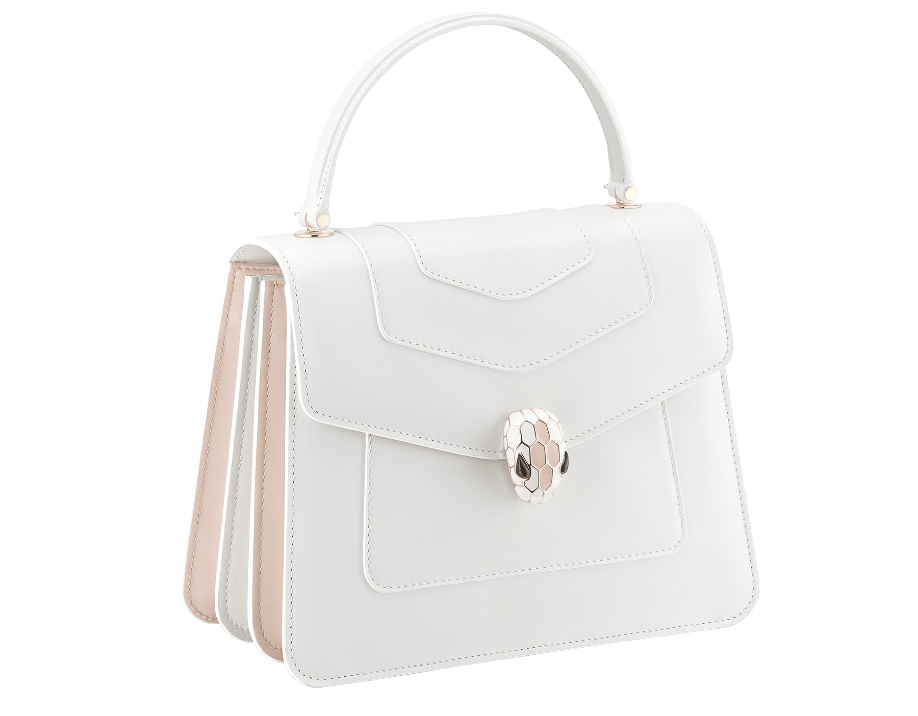 """Serpenti Forever "" top handle bag in white calf leather body and white agate and crystal rose calf leather sides. Iconic snake head closure in light gold plated brass enriched with white and crystal rose enamel and black onyx eyes. 289835 image 2"