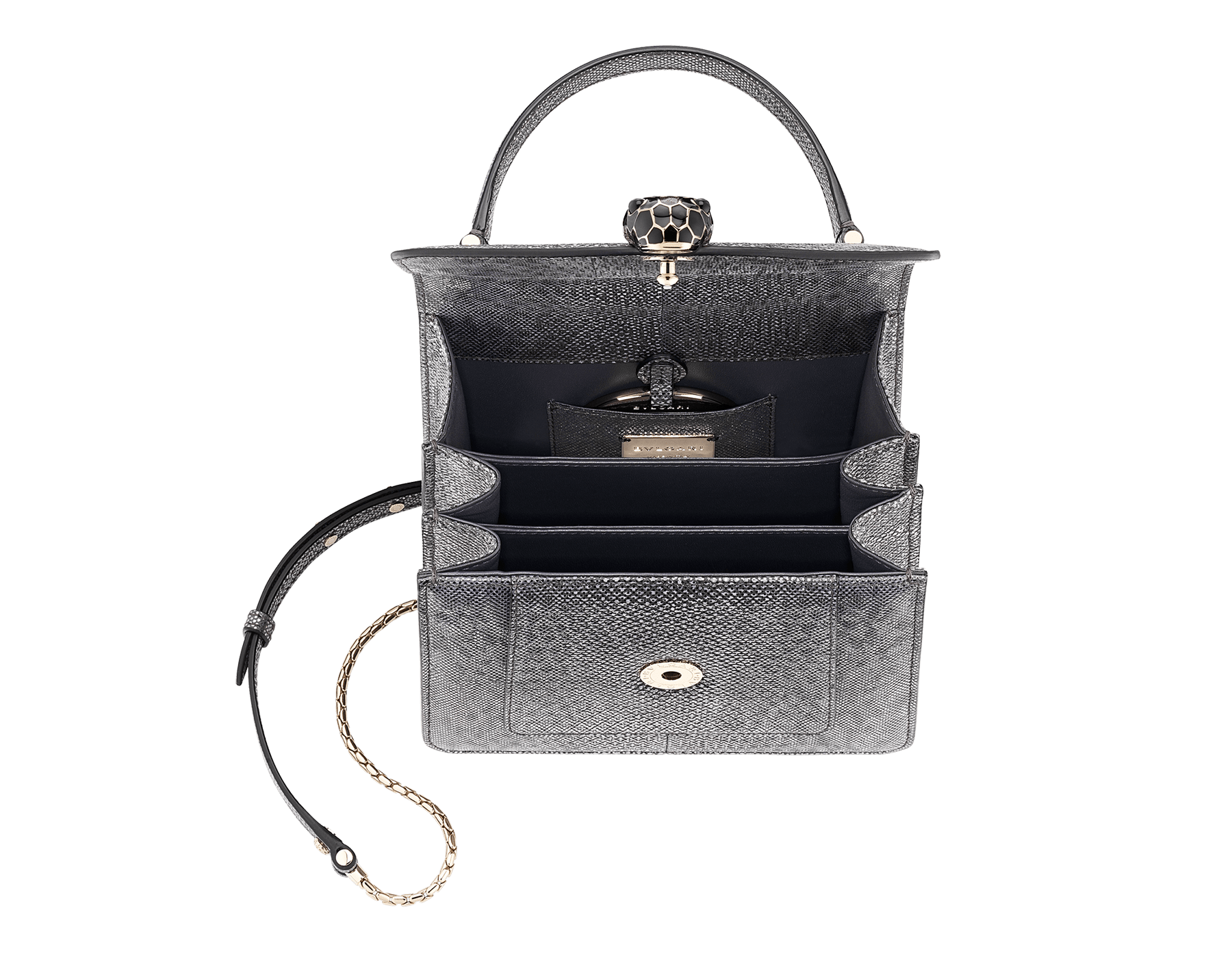 Serpenti Forever crossbody bag in forest emerald metallic karung skin. Snakehead closure in light gold plated bras decorated with shiny black and glitter forest emerald, and black onyx eyes. 752-MK image 4