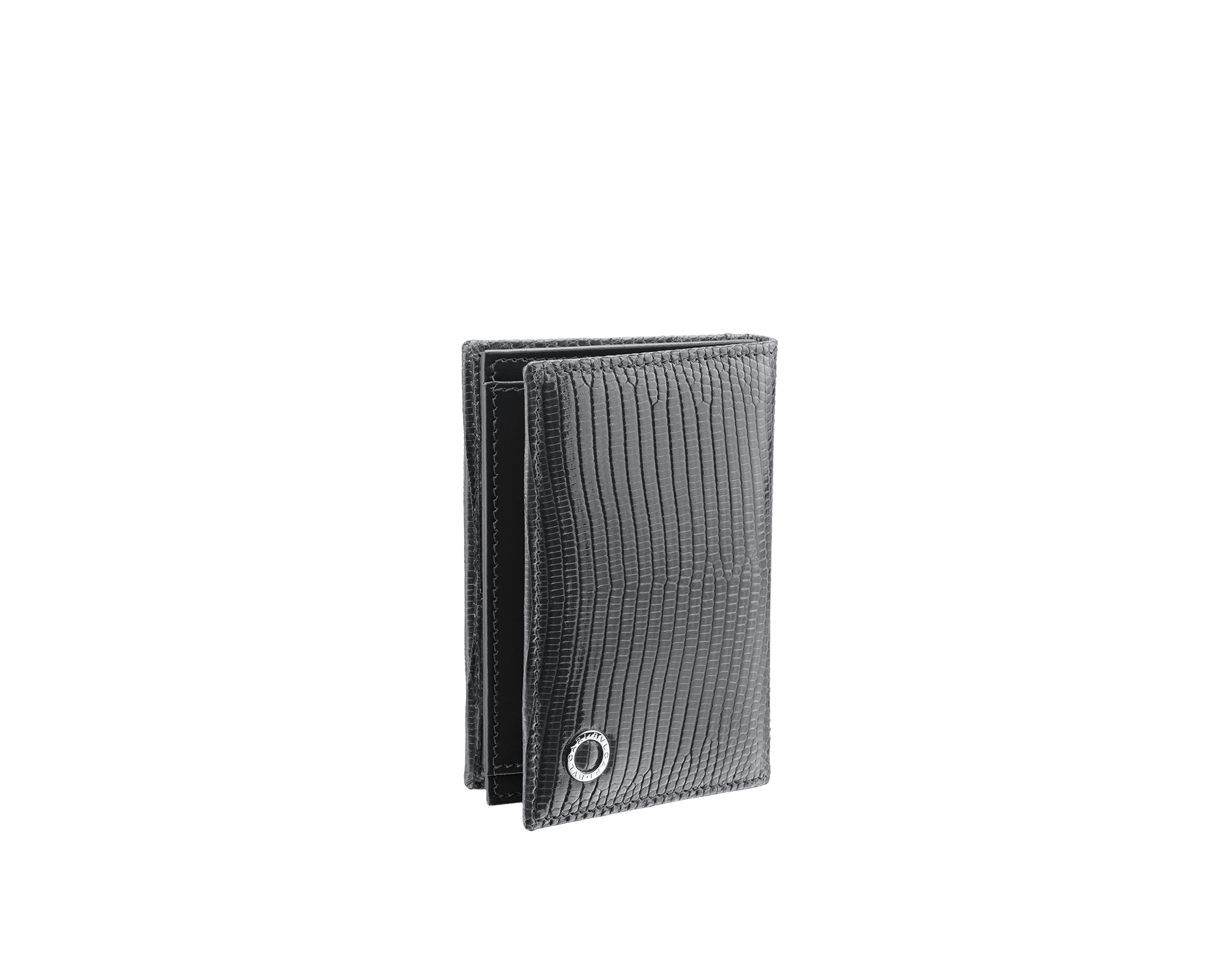 """BVLGARI BVLGARI"" business-card holder in shiny Charcoal Diamond grey lizard skin and black calfskin. Palladium-plated brass embellishment with logo. BBM-BC-HOLD-SIMPLE-sl image 1"