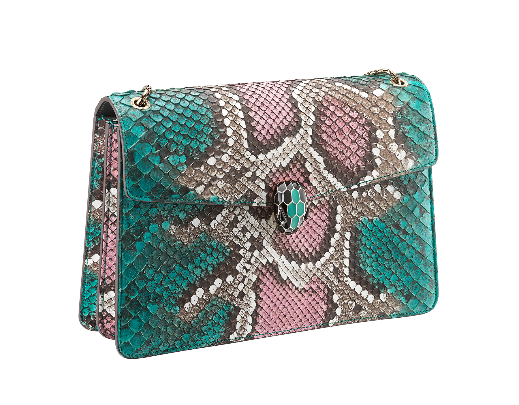 Serpenti Forever shoulder bag in arctic jade Psiche python skin. Iconic snakehead closure in light gold plated brass embellished with black and arctic jade enamel and black onyx eyes. 288939 image 2