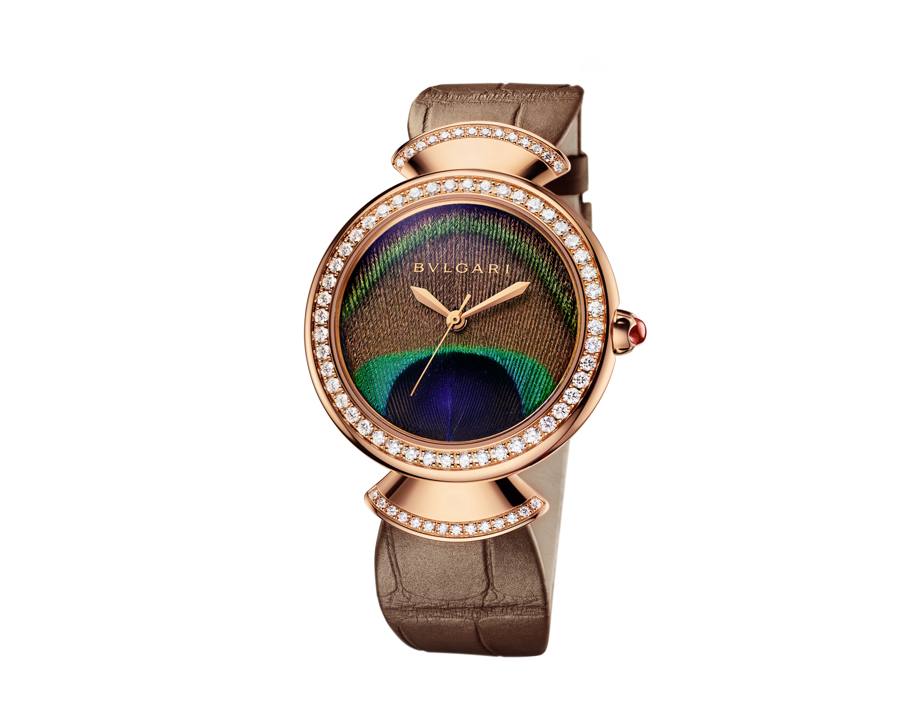 DIVAS' DREAM watch with in-house manufacture mechanical movement, automatic winding, 18 kt rose gold case, 18 kt rose gold bezel and fan-shaped links both set with brilliant-cut diamonds, natural peacock feather dial and shiny beige alligator strap 103139 image 2