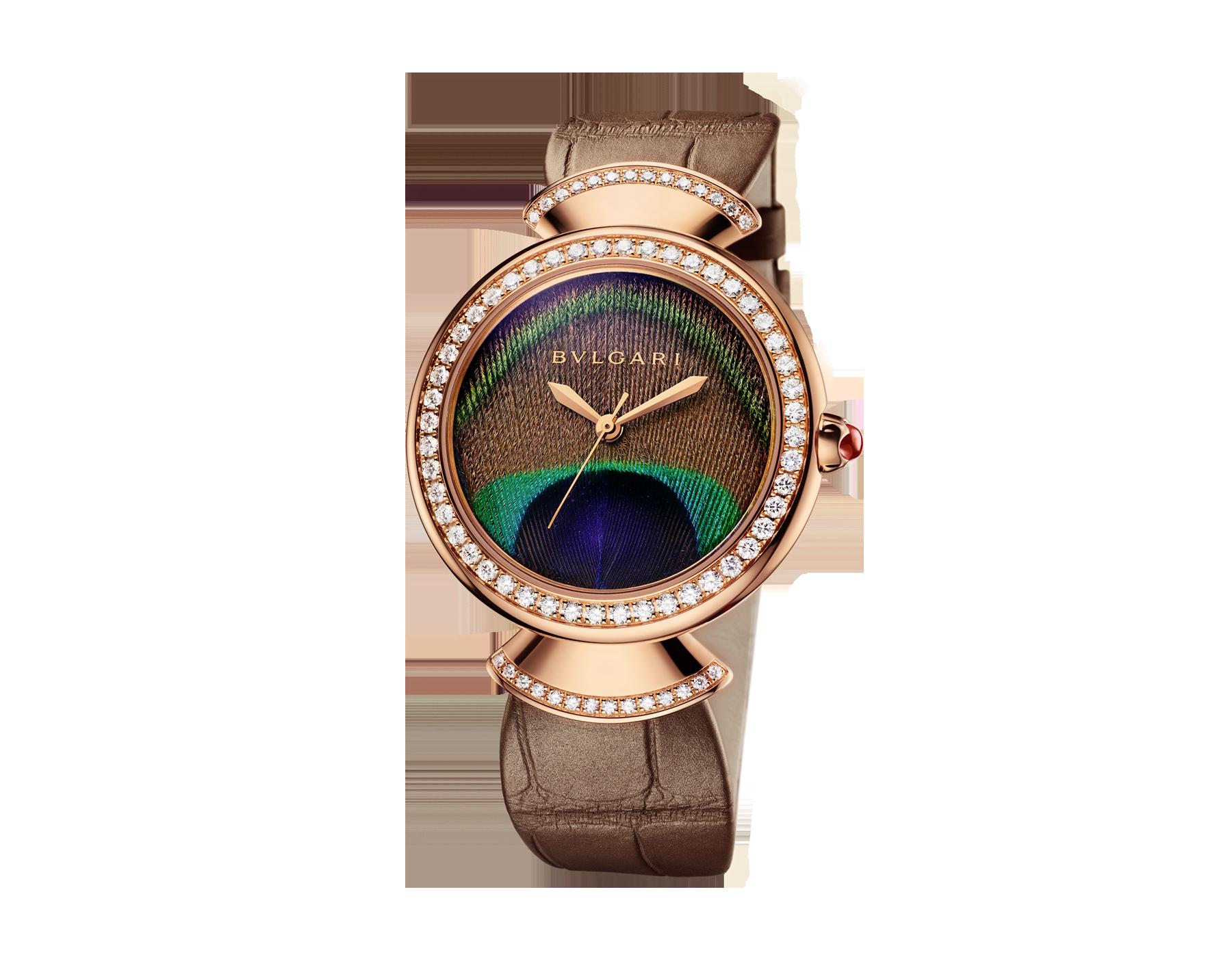 Часы DIVAS' DREAM, мануфактурный механизм с автоматическим заводом, корпус из розового золота 18 карат, безель и крепления в форме веера из розового золота 18 карат с бриллиантами классической огранки, циферблат с настоящим пером павлина, ремешок из блестящей кожи аллигатора бежевого цвета 103139 image 2