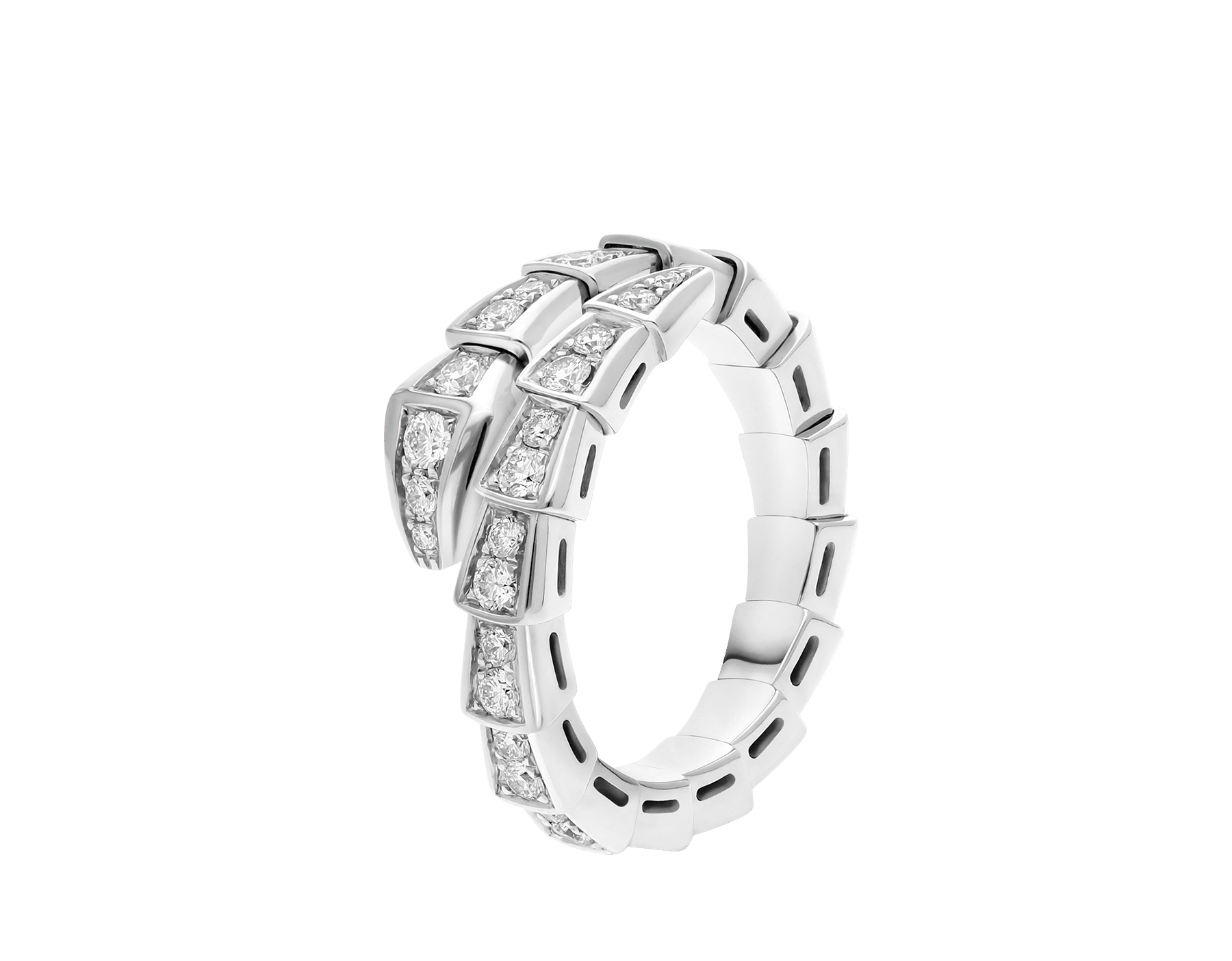 Serpenti Viper 18 kt white gold ring set with pavé diamonds. AN858111 image 1