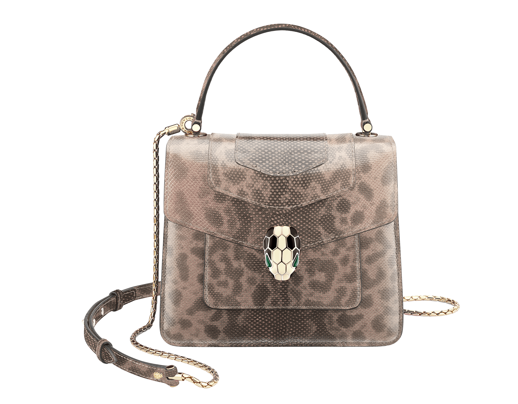 """""""Serpenti Forever"""" crossbody bag in shiny crystal rose karung skin. Iconic snakehead closure in light gold plated brass enriched with black and white enamel and green malachite eyes 287101 image 1"""