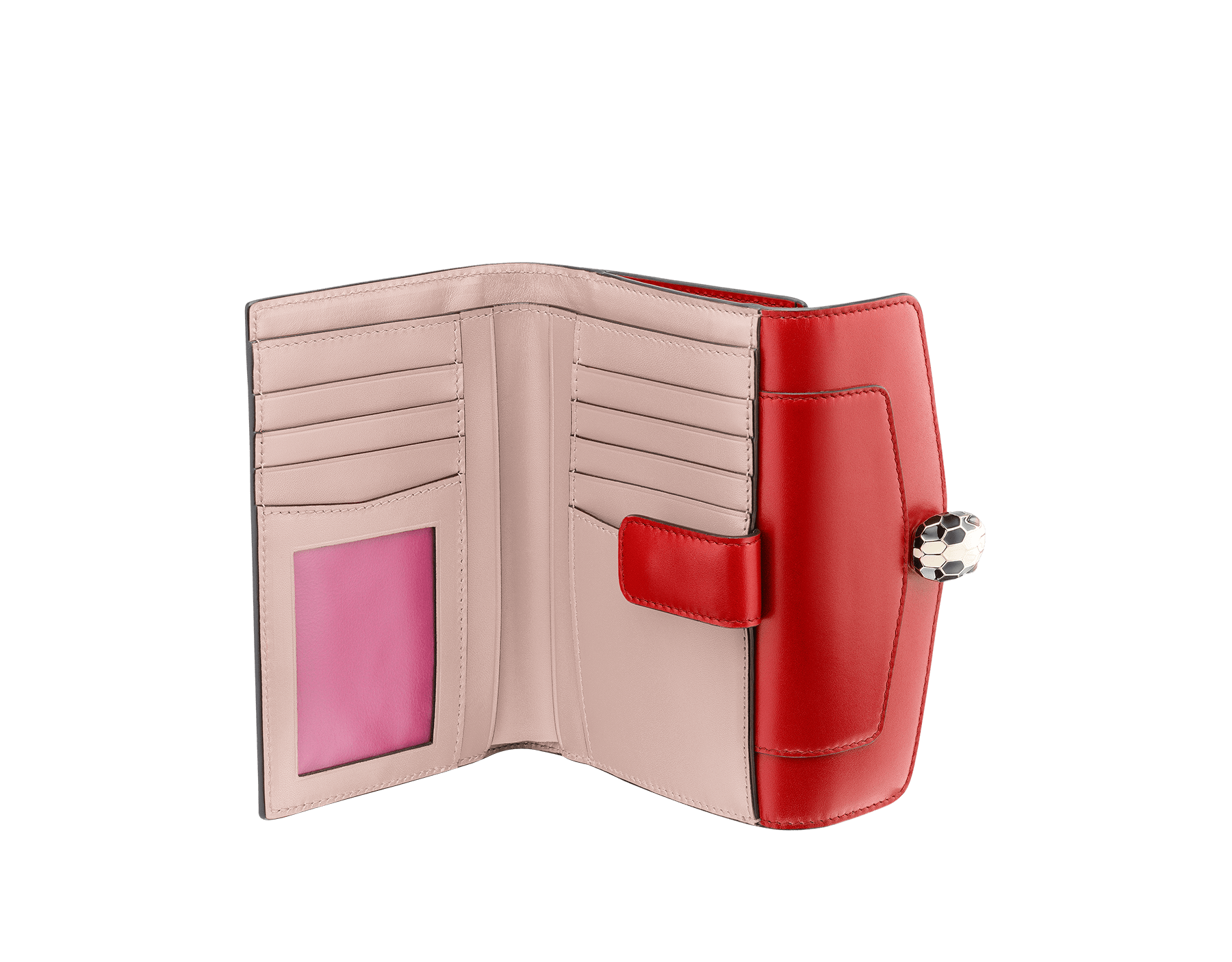 Compact pochette in ruby red calf leather, desert quartz calf leather and fuxia nappa lining. Brass light gold plated Serpenti head stud closure with green malachite eyes. 282666 image 2