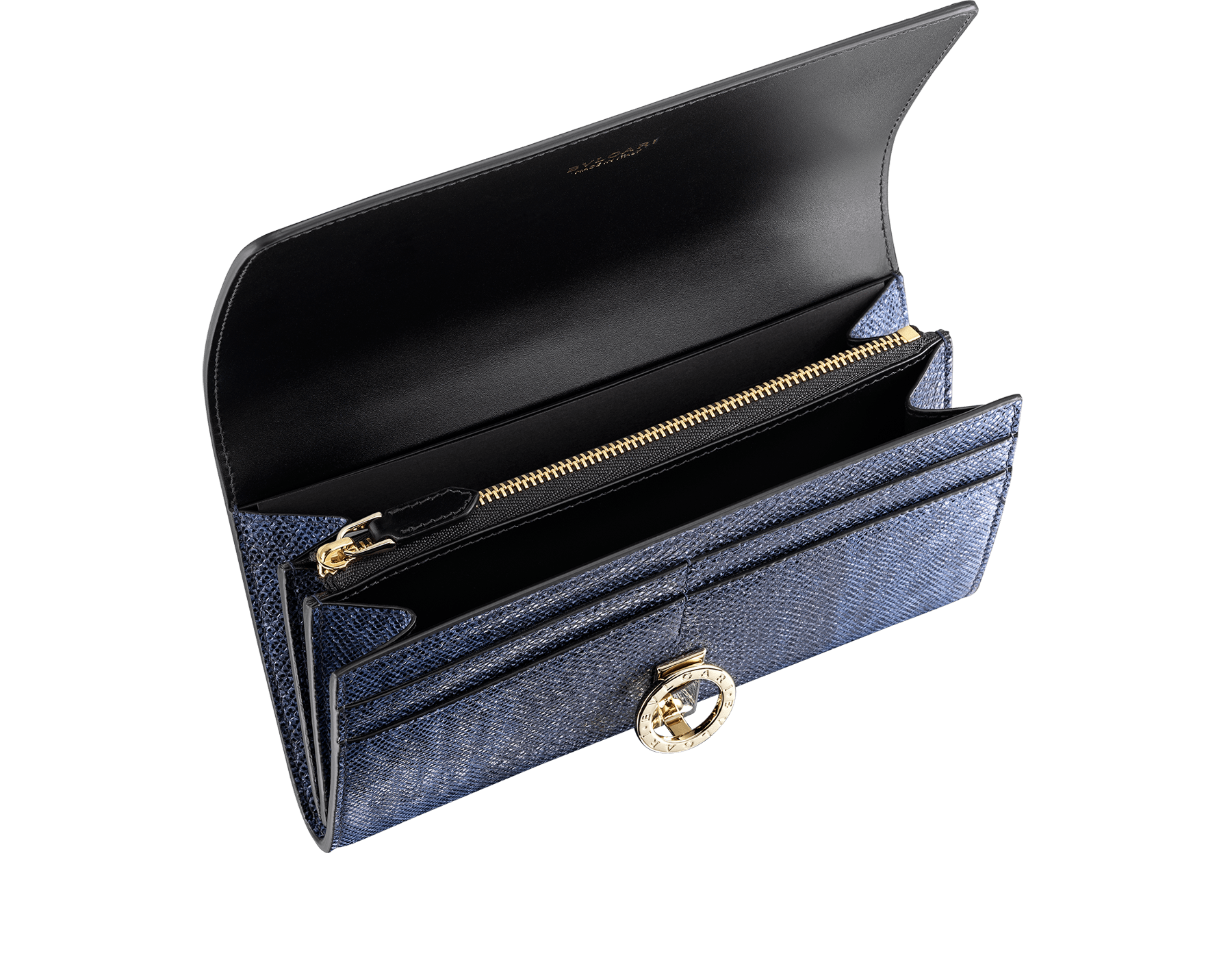 """BVLGARI BVLGARI"" large wallet in metallic Midnight Sapphire blue karung skin and black calfskin. Iconic logo clip closure in light gold-plated brass. 579-WLT-POCHE-16CC-MK image 2"
