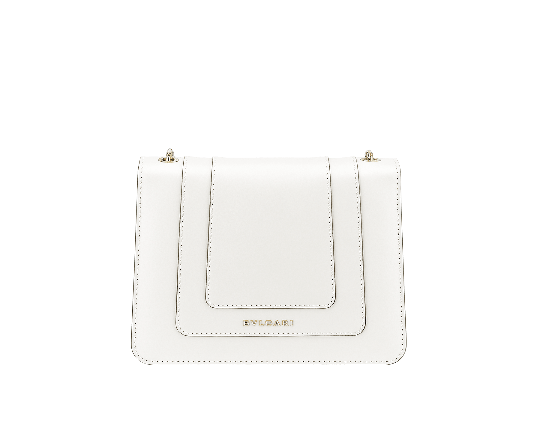 Flap cover bag Serpenti Forever in white agate calf leather. Brass light gold plated snake head closure in black and white enamel with eyes in green malachite. 283167 image 3