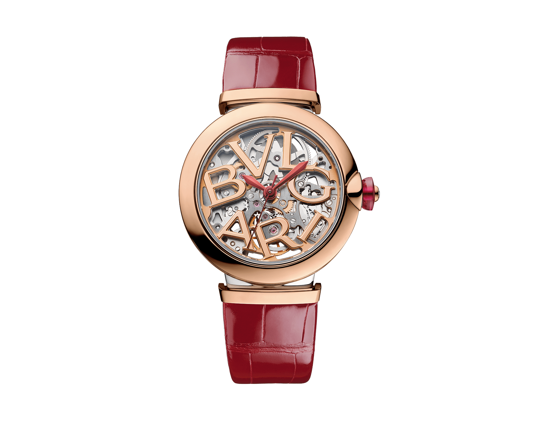LVCEA Skeleton watch with mechanical manufacture movement, automatic winding and skeleton execution, polished stainless steel case, 18 kt rose gold bezel, openwork BVLGARI logo dial and links, and red alligator bracelet. Water-resistant up to 30 metres. 103373 image 1