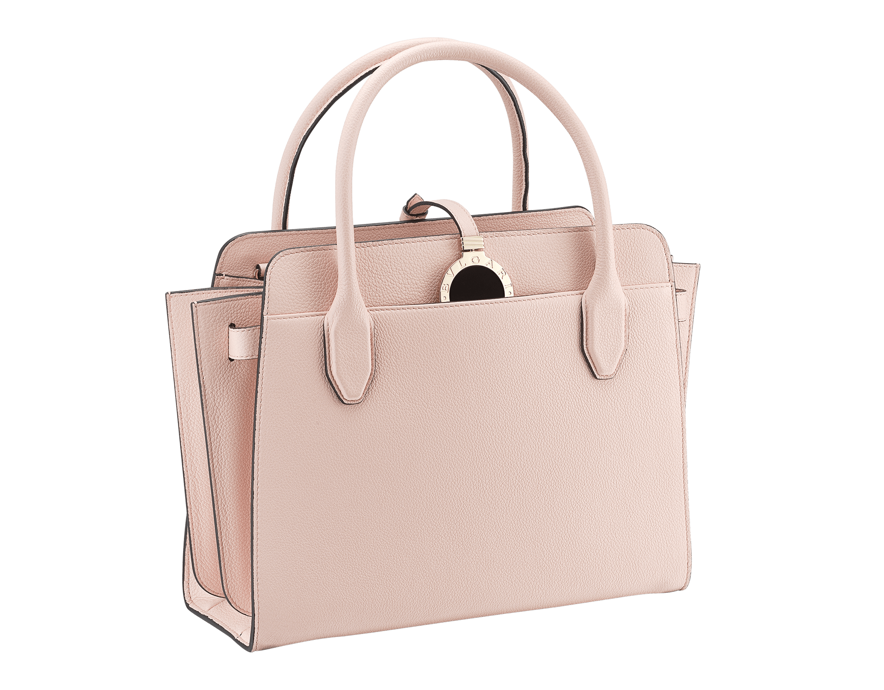 BVLGARI BVLGARI Alba tote bag in crystal rose grain calf leather, with zip closure. Iconic double logo pendant in brass light gold plated metal with black enamel on the front side, leather on the back side and Tubogas motif 834-CL image 2