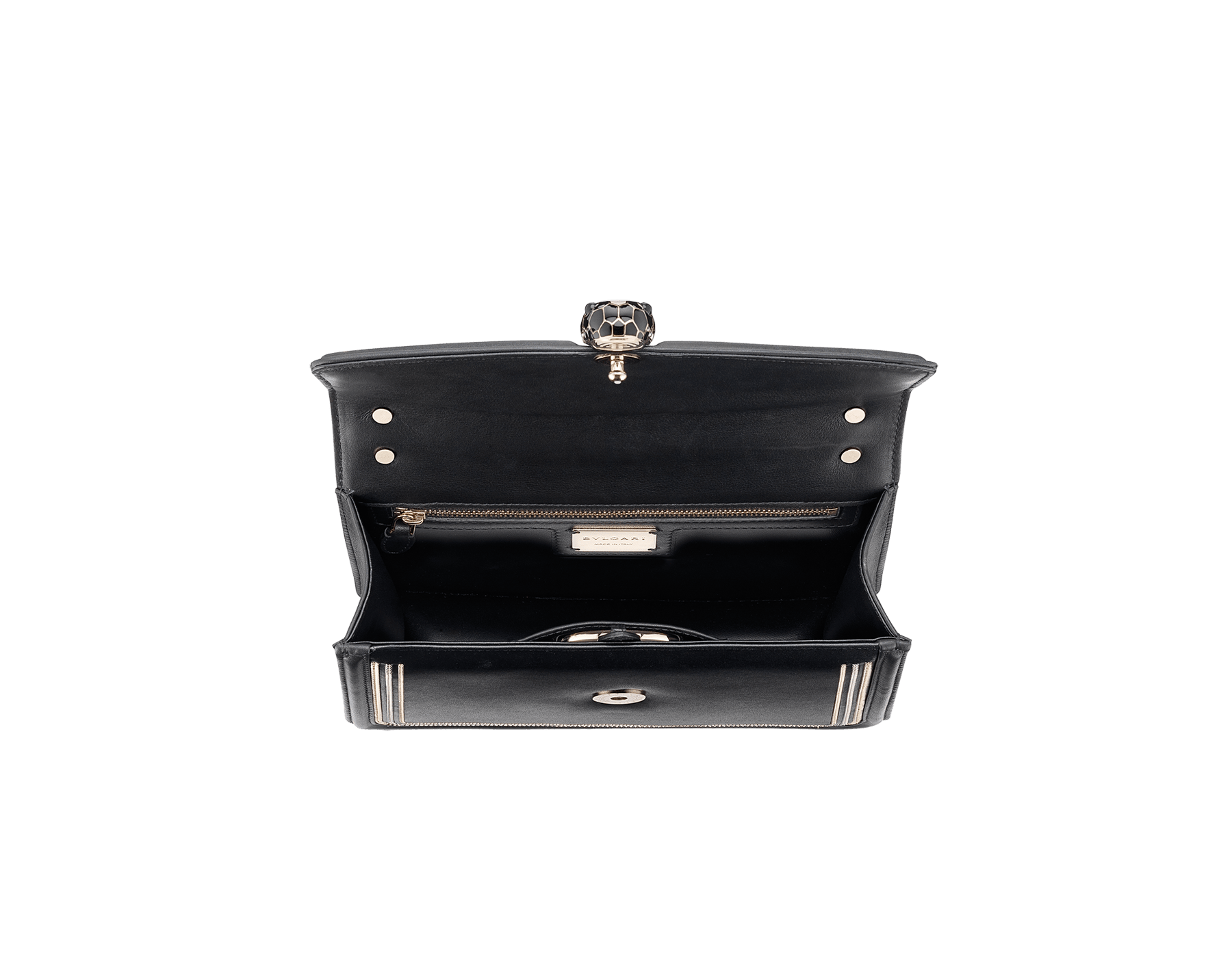 """Serpenti Diamond Blast"" shoulder bag in black smooth calf leather, featuring a 3-Chain motif in light gold and palladium finishing. Iconic snakehead closure in light gold plated brass enriched with black and white enamel and black onyx eyes 922-3CFCL image 4"