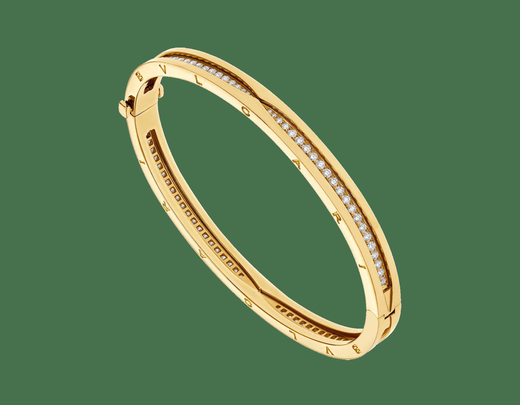 B.zero1 18 kt yellow gold bracelet set with pavé diamonds on the spiral BR859002 image 1