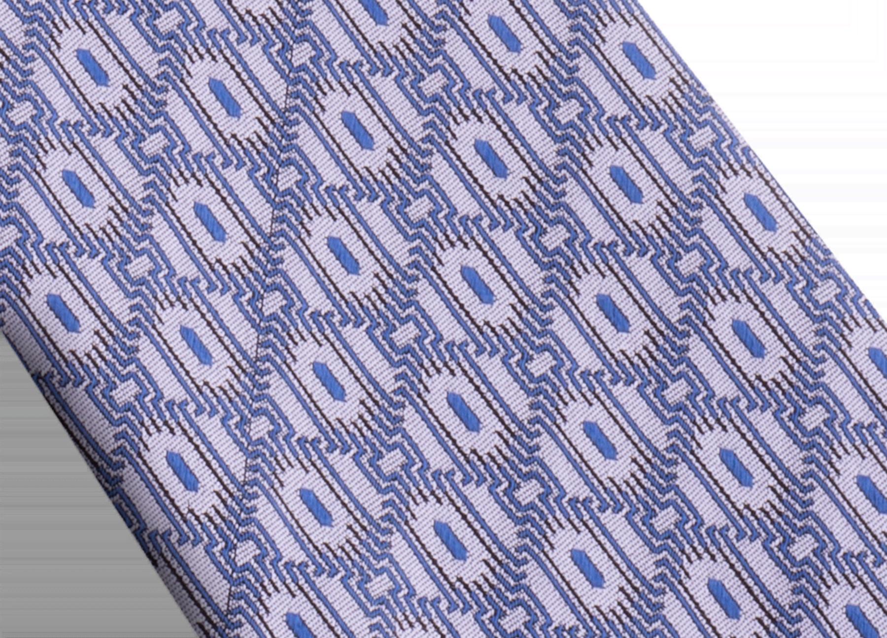 Cravatta lilla con motivo Double Line Scales in seta pregiata. 244131 image 2