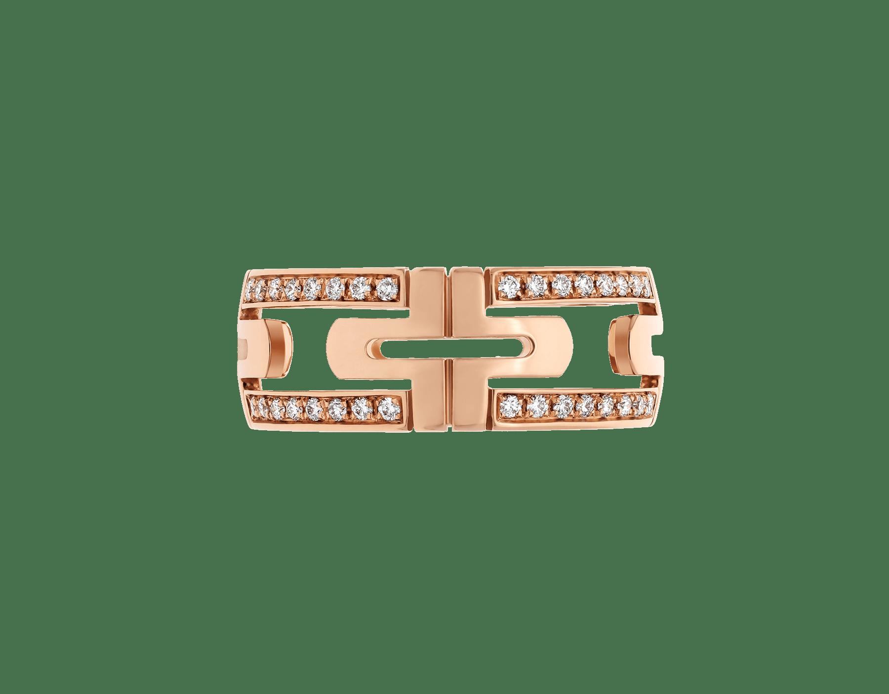 Anel Parentesi em ouro rosa 18K semicravejado com pavê de diamantes AN856914 image 3