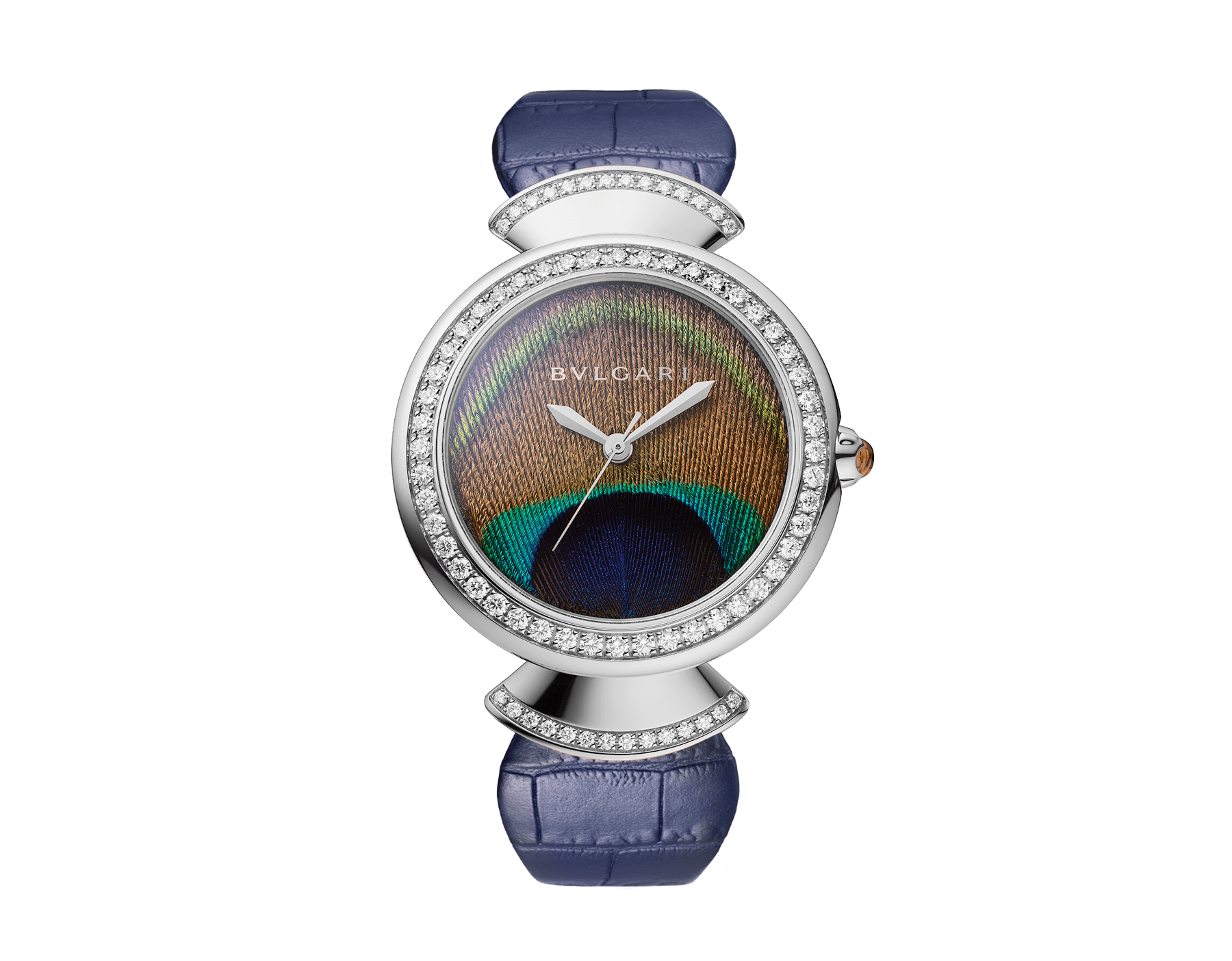 DIVAS' DREAM watch with mechanical manufacture movement, automatic winding, 18 kt white gold case, 18 kt white gold bezel and fan-shaped links both set with brilliant-cut diamonds, natural peacock feather dial and blue alligator bracelet 103263 image 1