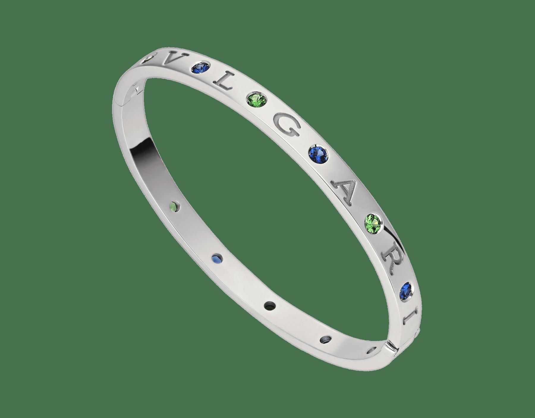 Bracelet jonc BVLGARI BVLGARI en or blanc 18K serti de six saphirs et six tsavorites BR857636 image 1