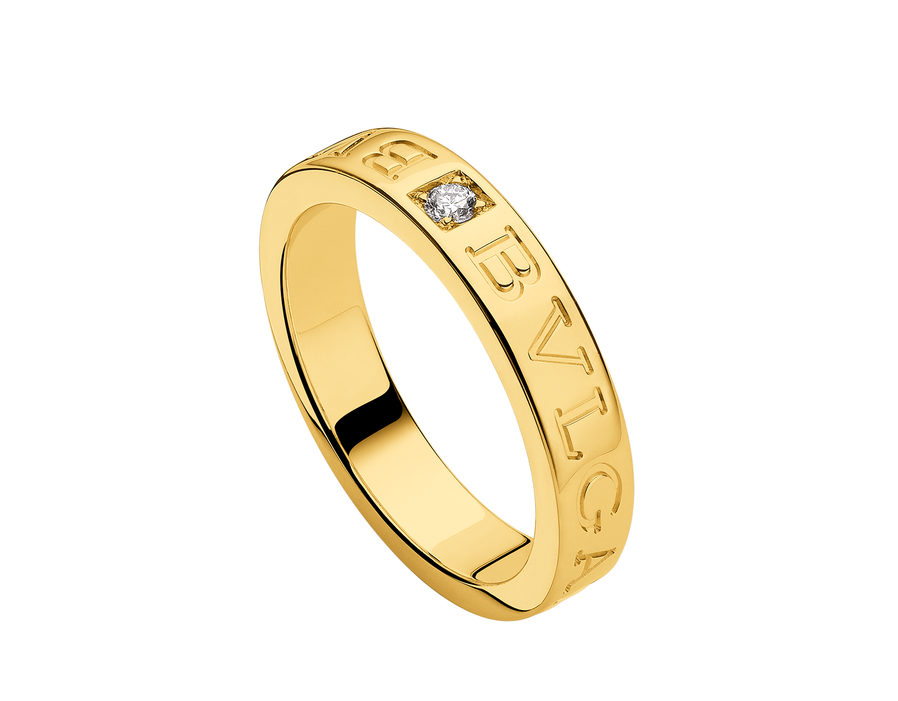 BVLGARI BVLGARI 18 kt yellow gold ring set with a diamond AN854462 image 1