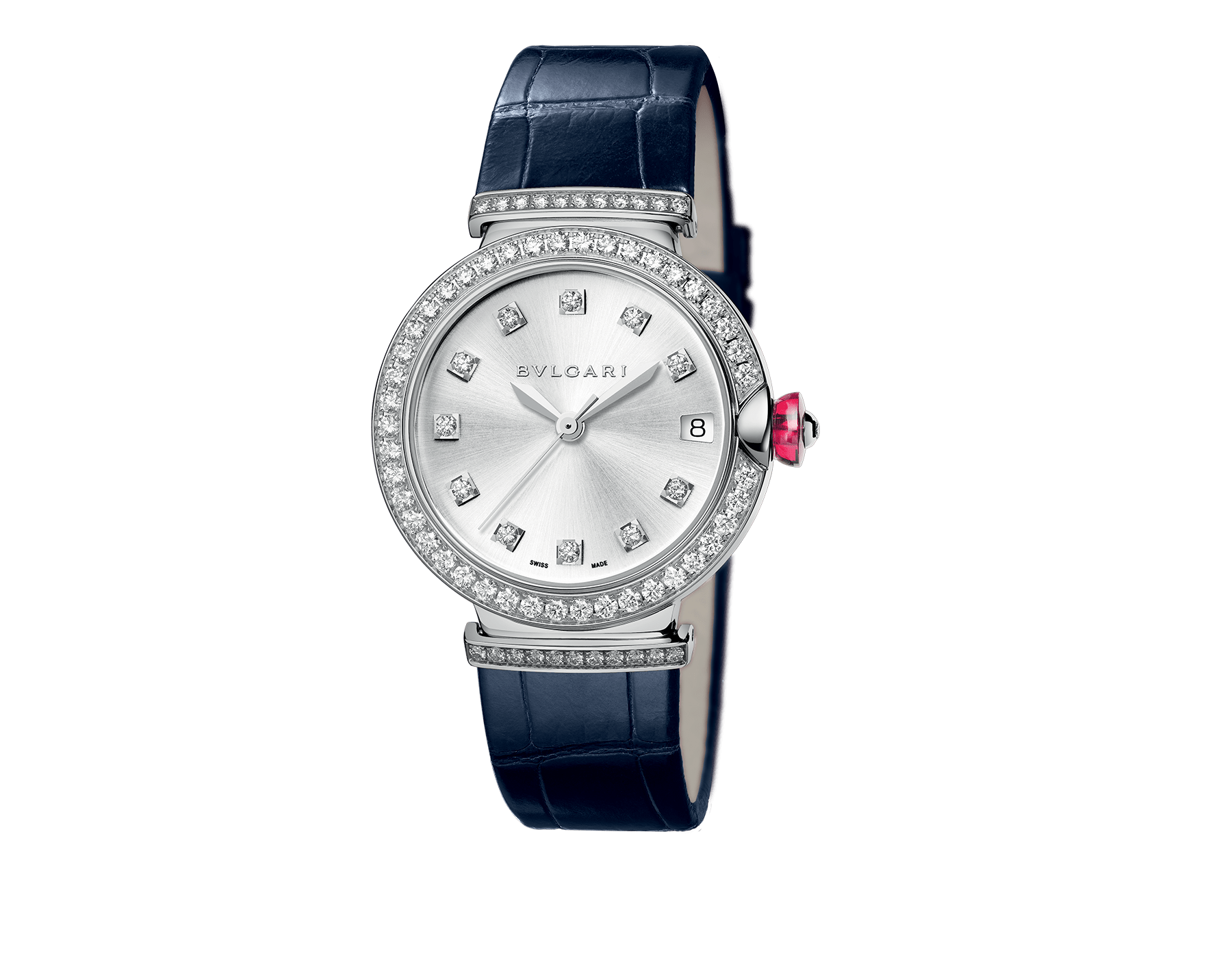 LVCEA watch with 18 kt white gold case set with brilliant-cut diamonds, silver satiné soleil dial set with diamond indexes and blue alligator strap. 102389 image 1