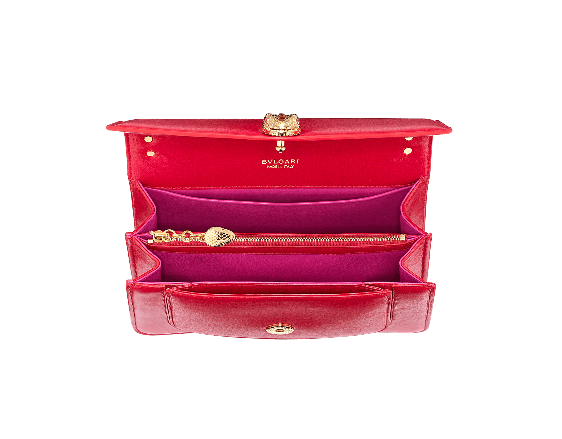 """Serpenti Forever"" maxi chain crossbody bag in Amaranth Garnet red nappa leather, with Pink Spinel fuchsia nappa leather internal lining. New Serpenti head closure in gold plated brass, finished with small red carnelian scales in the middle and red enamel eyes. 1138-MCN image 4"