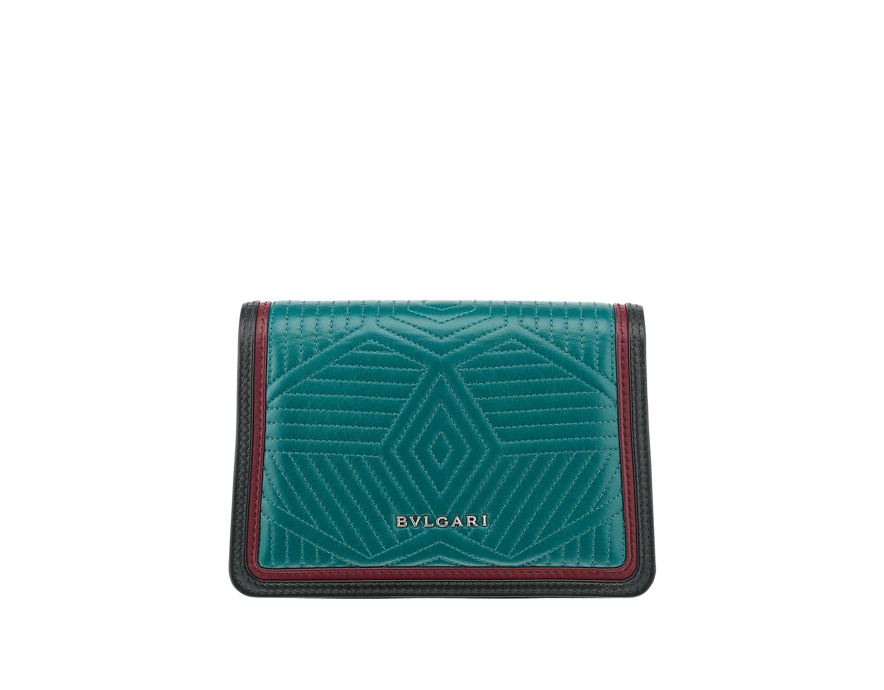 """Serpenti Diamond Blast"" crossbody micro bag in deep jade quilted nappa leather body and roman garnet and black calf leather frames. Iconic snakehead closure in light gold plated brass enriched with deep jade and black enamel and black onyx eyes. 288104 image 3"
