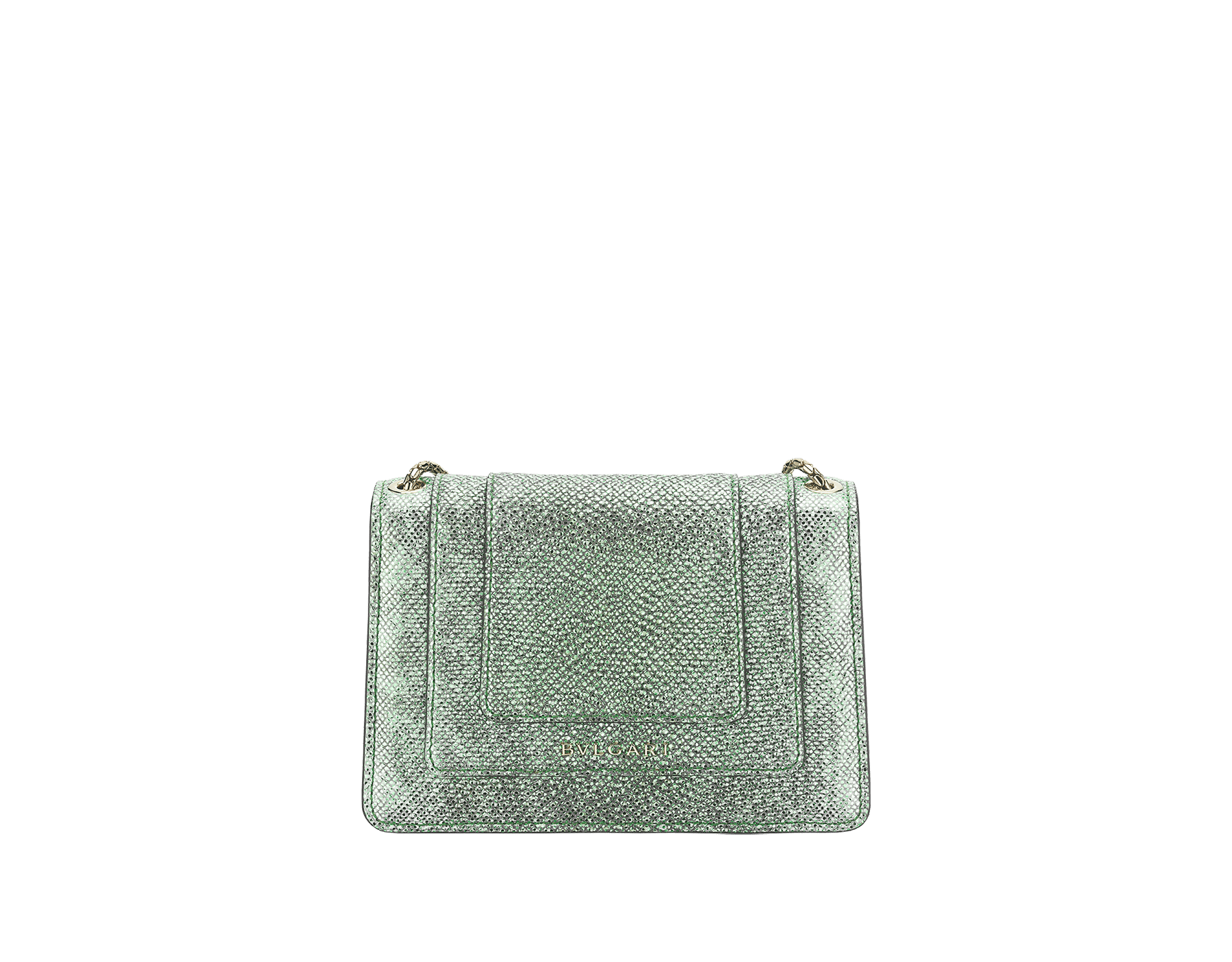 """Serpenti Forever"" crossbody micro bag in mint metallic karung skin. Brass light gold plated snakehead closure in black and white agate enamel, with black onyx eyes. 290005 image 3"