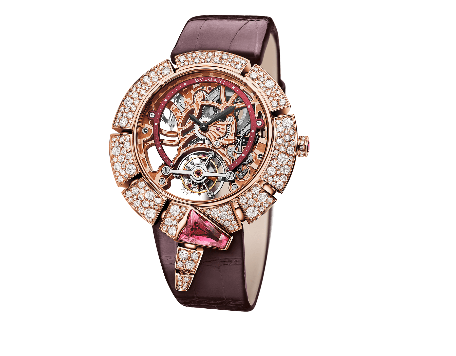 Serpenti Incantati Limited Edition watch with mechanical manufacture skeletonized movement, tourbillon and manual winding. 18 kt rose gold case set with brilliant cut diamonds, transparent dial and burgundy alligator bracelet. 102540 image 1