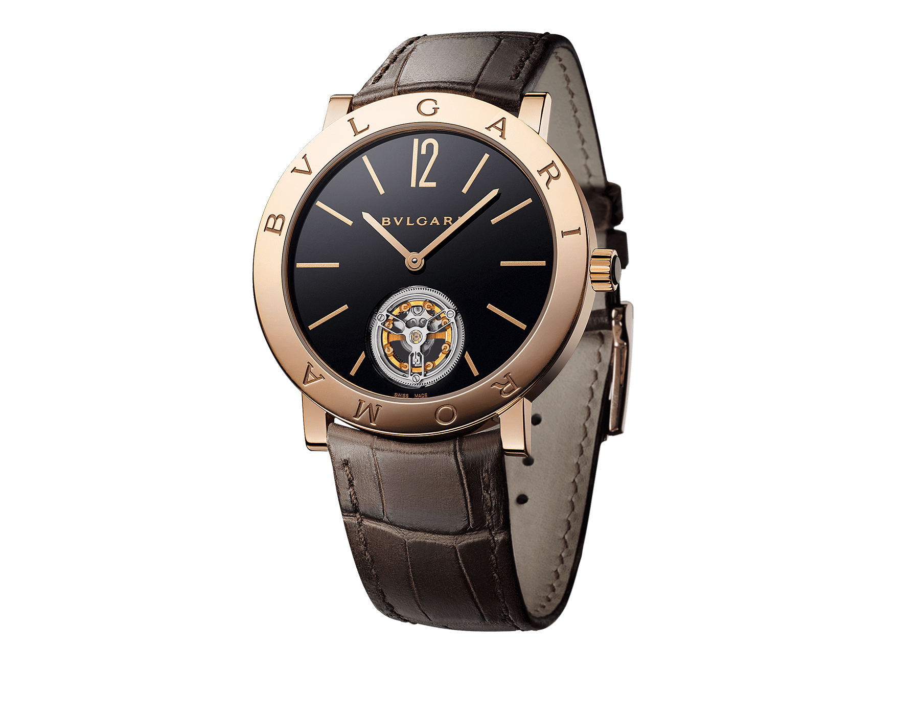 BVLGARI ROMA Finissimo Tourbillon watch with mechanical movement, manual winding and ball-bearing system, 18 kt rose gold case, black lacquered dial with tourbillon see-through opening and brown alligator bracelet 102362 image 1