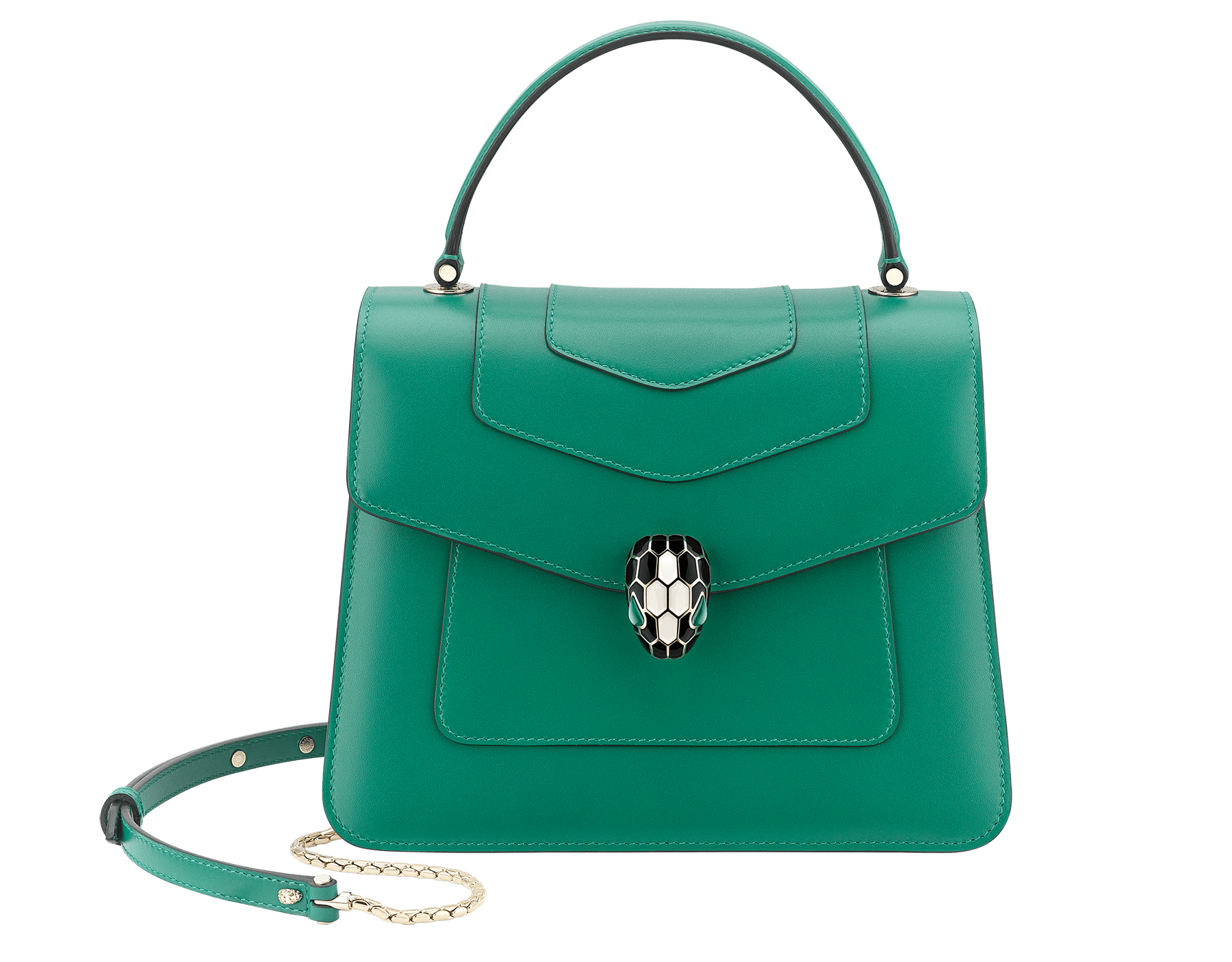"""Serpenti Forever"" top handle bag in emerald green calf leather. Iconic snake head closure in light gold plated brass enhanced with black and white agate enamel and green malachite eyes. 289666 image 1"
