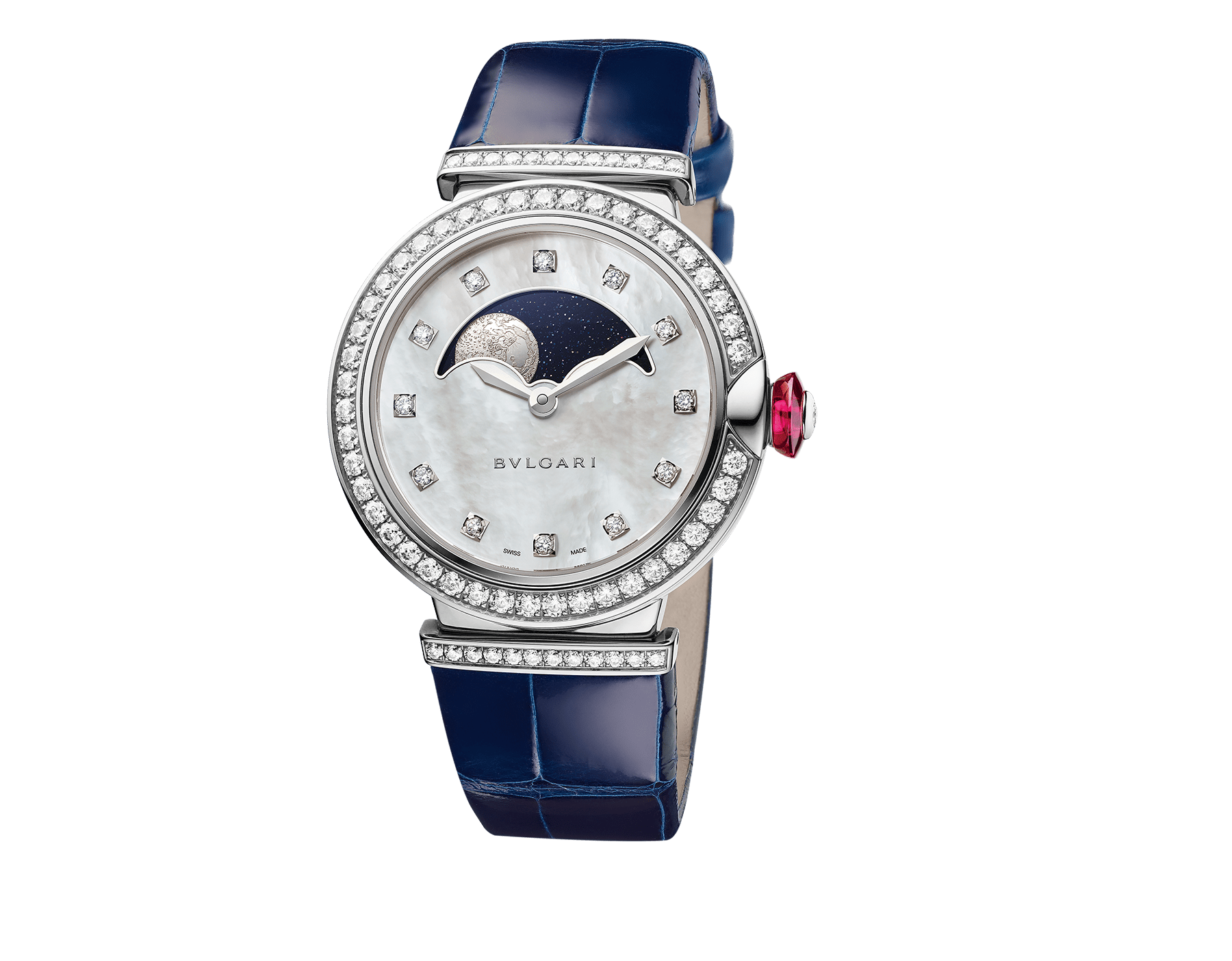 LVCEA Moon phase watch with 18 kt white gold case set with diamonds, mother-of-pearl and aventurine dial, blue alligator bracelet. 102687 image 1